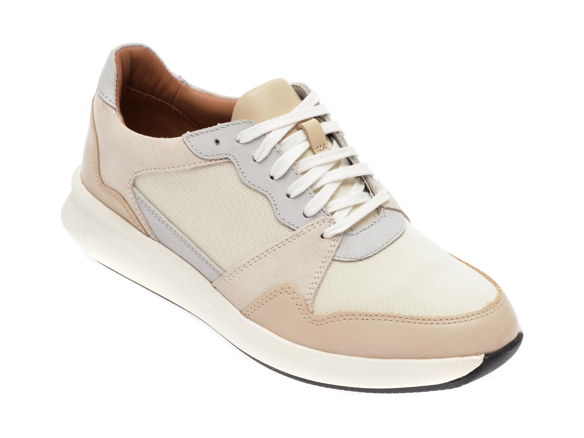 Pantofi sport CLARKS bej , Un Rio Run, din material textil si piele naturala