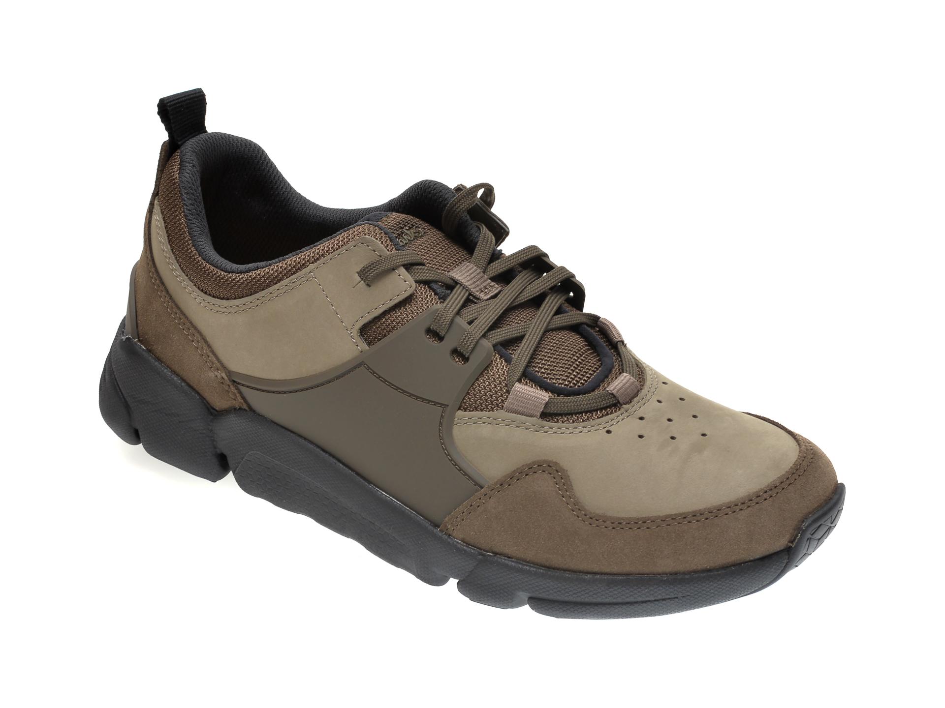 Pantofi sport CLARKS kaki, TRI ACTIVE LACE, din piele naturala imagine