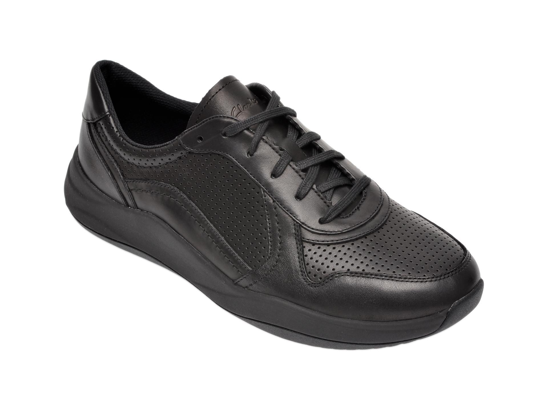 Pantofi sport CLARKS negri, Sift Speed, din piele naturala imagine otter.ro