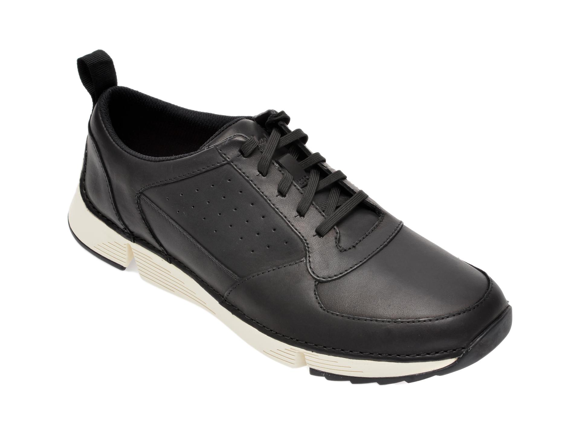 Pantofi sport CLARKS negri, Tri Sprint, din piele naturala imagine