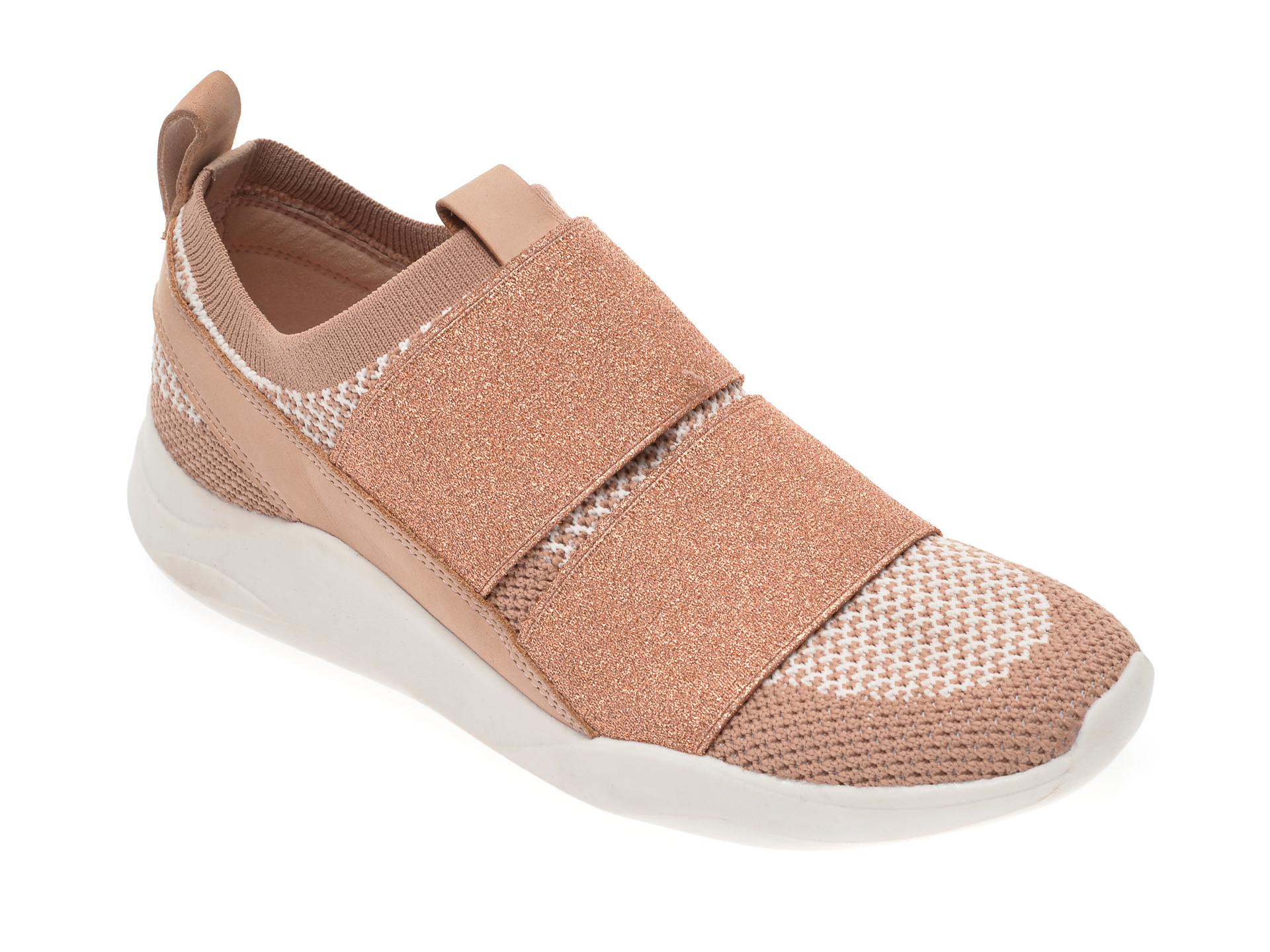 Pantofi sport CLARKS nude, Sift Slip, din material textil imagine