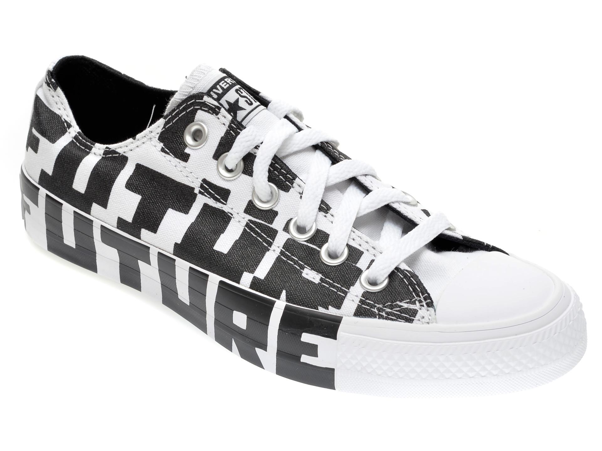 Pantofi sport CONVERSE alb-negru, 168556C, din material textil New