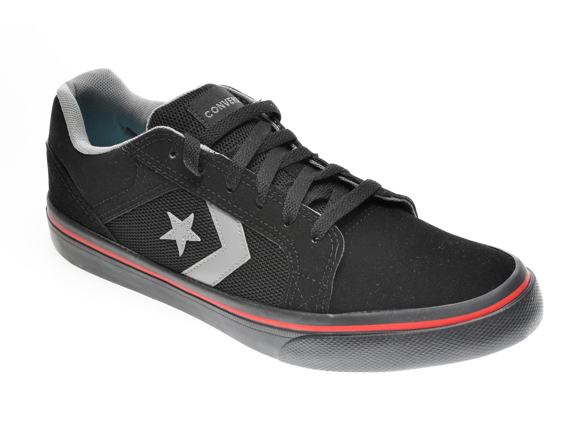 Pantofi sport CONVERSE negri, 167124C, din material textil si piele ecologica imagine