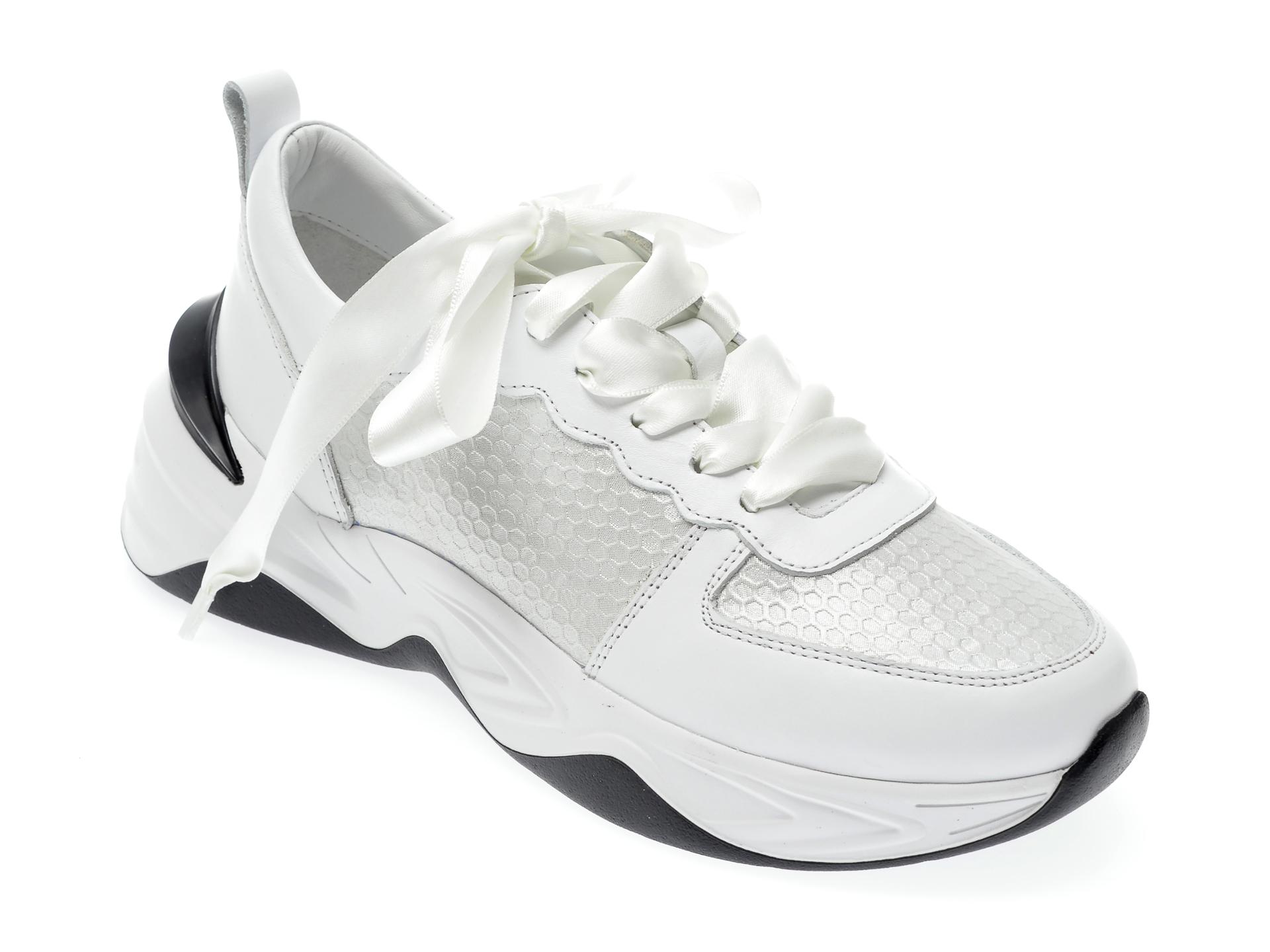 Pantofi sport EPICA albi, 135P190, din piele naturala imagine otter.ro