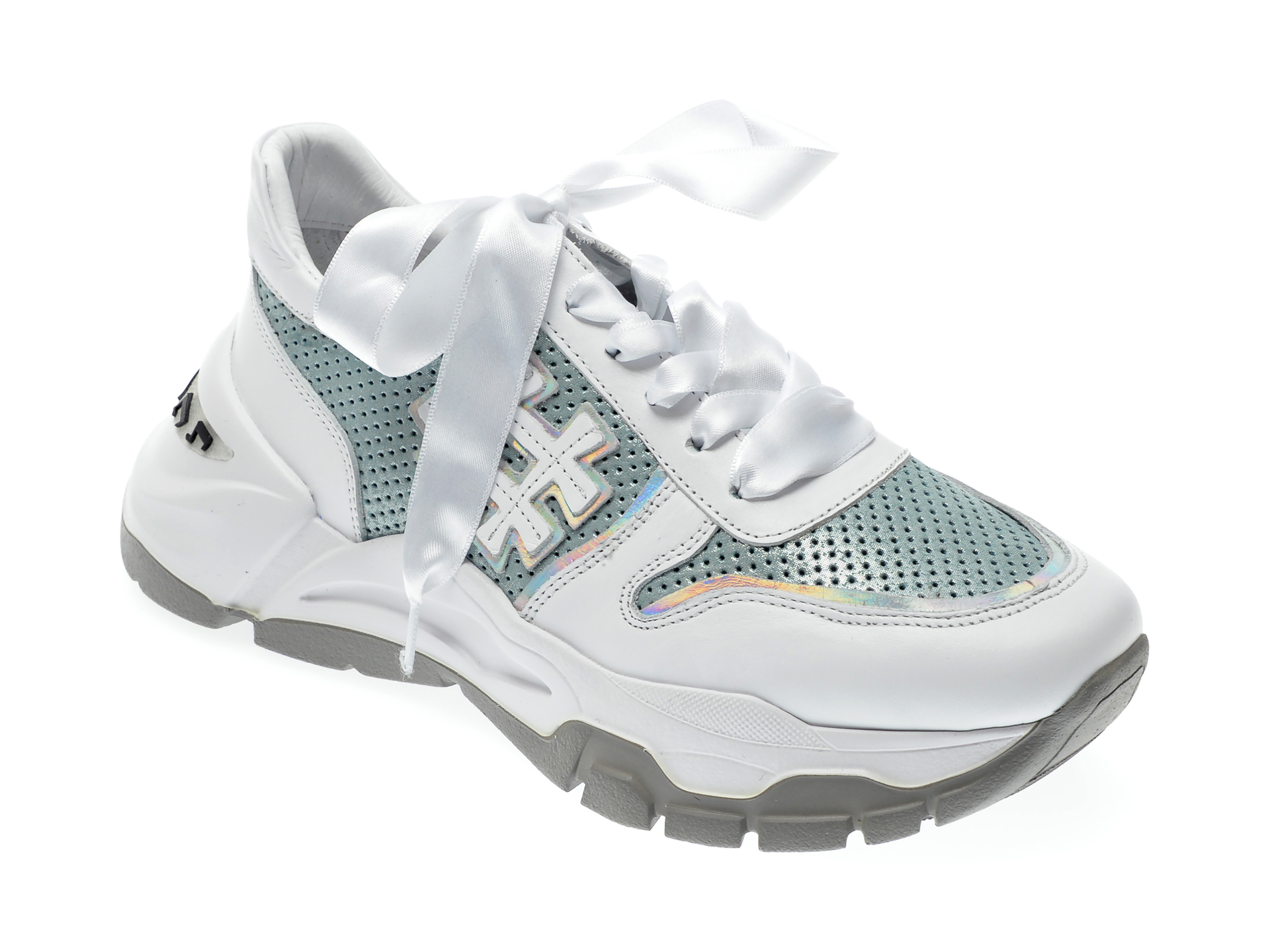 Pantofi sport EPICA albi, 135P230, din piele naturala