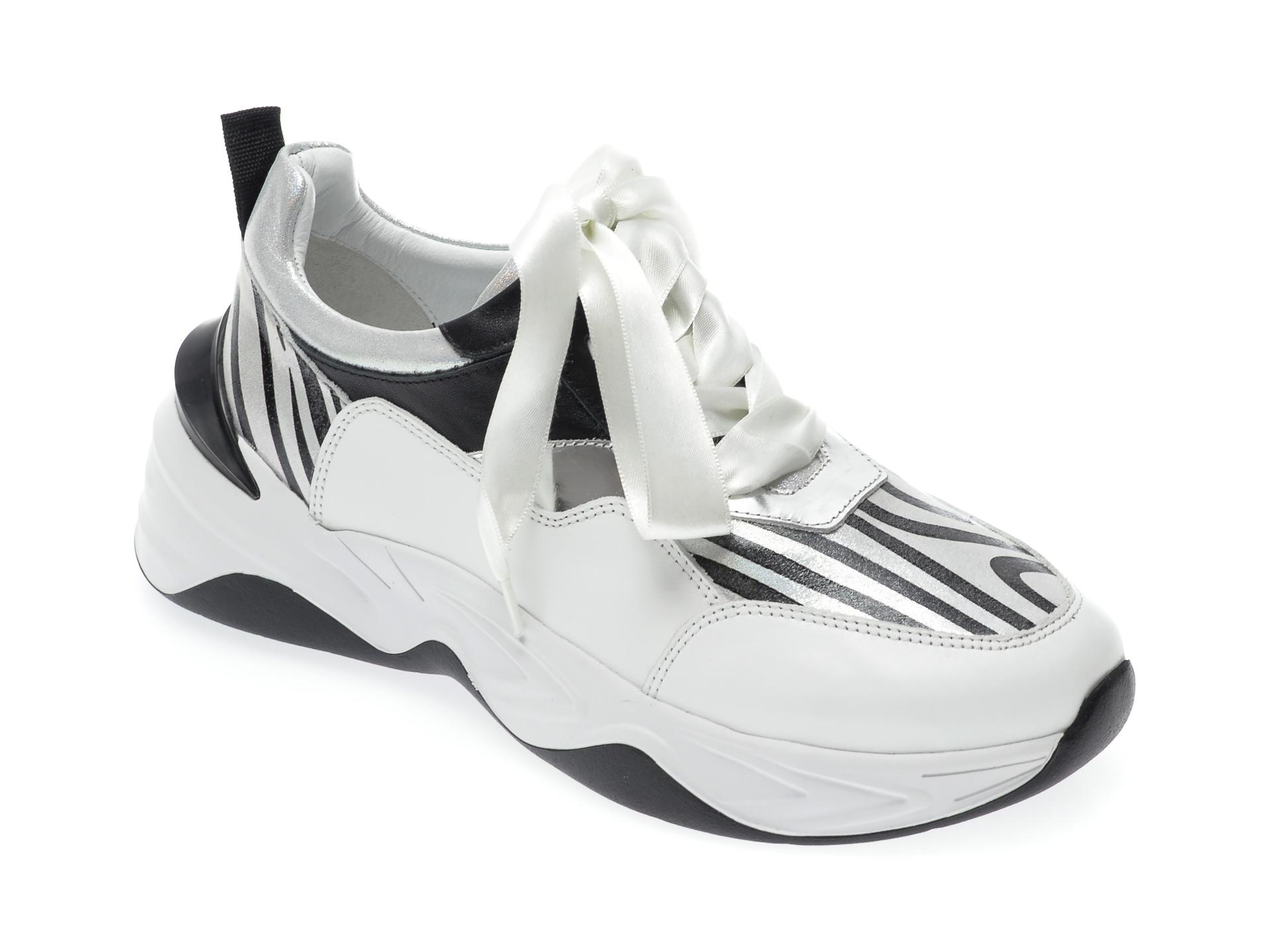 Pantofi sport EPICA albi, 135P248, din piele naturala imagine otter.ro