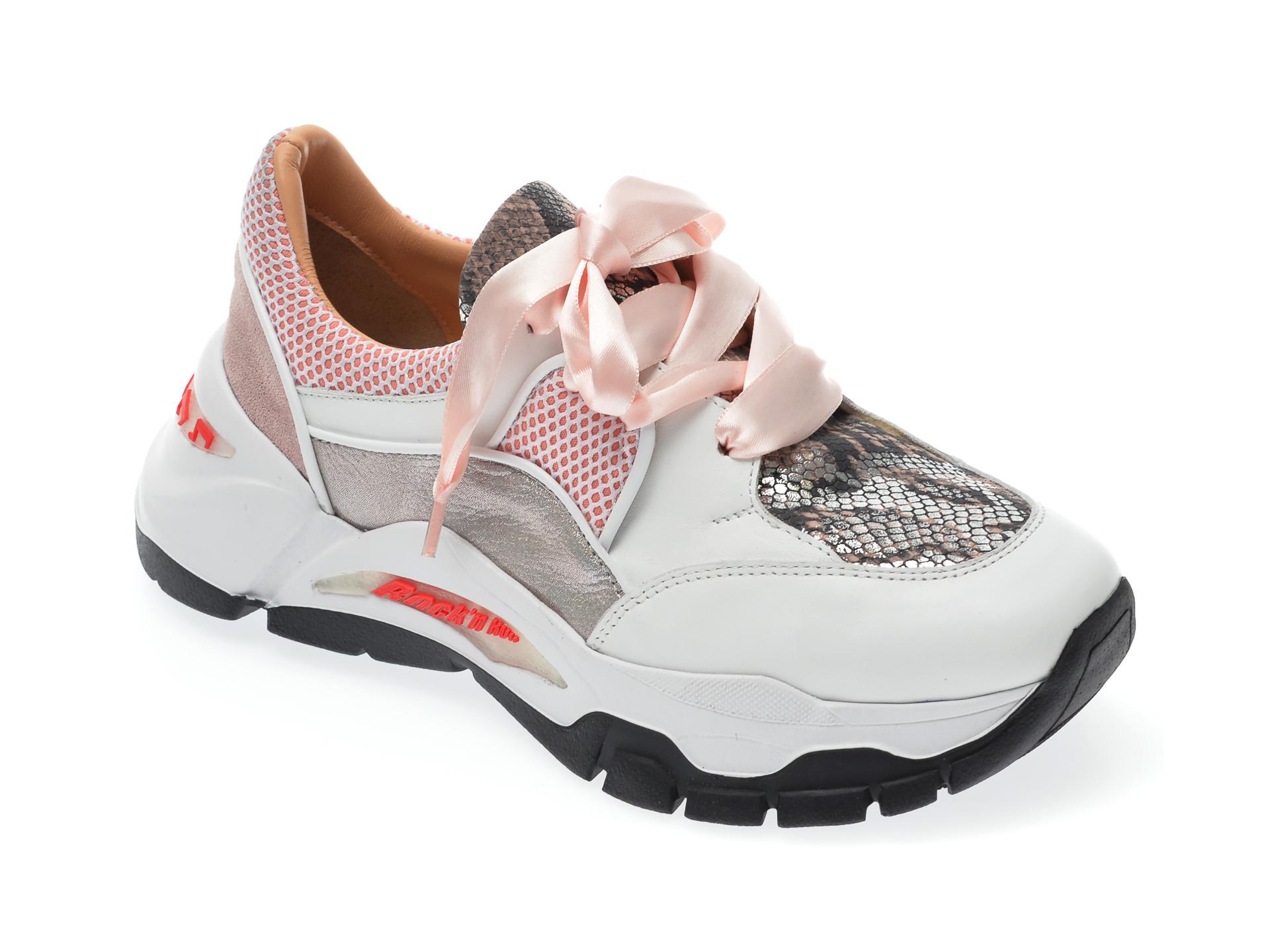 Pantofi Sport Epica Albi, 135p252, Din Piele Naturala Si Material Textil