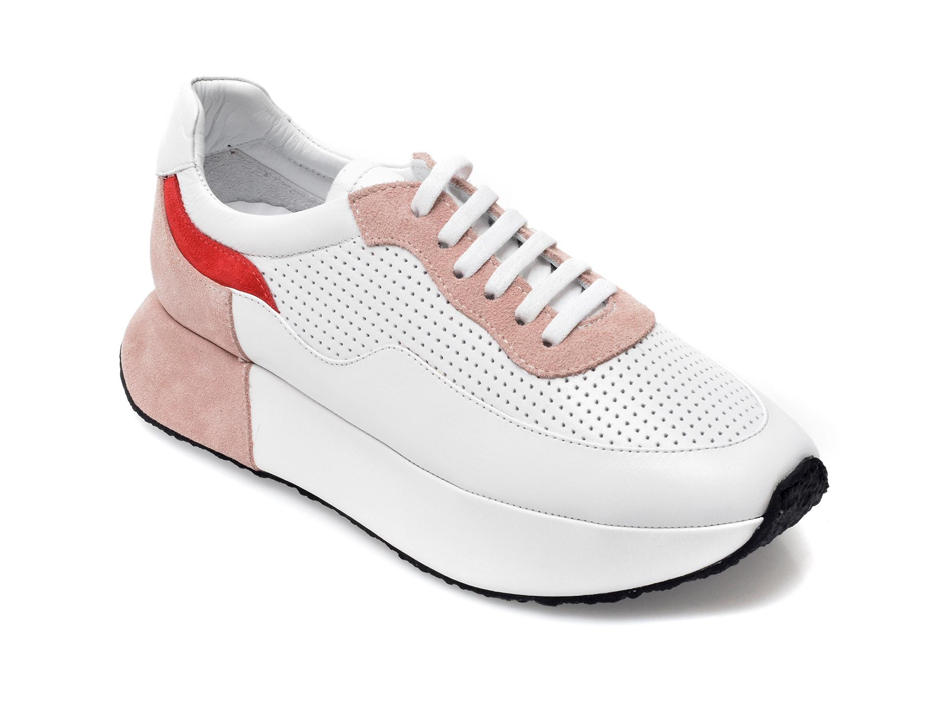 Pantofi sport EPICA albi, 851129, din piele naturala imagine otter.ro 2021