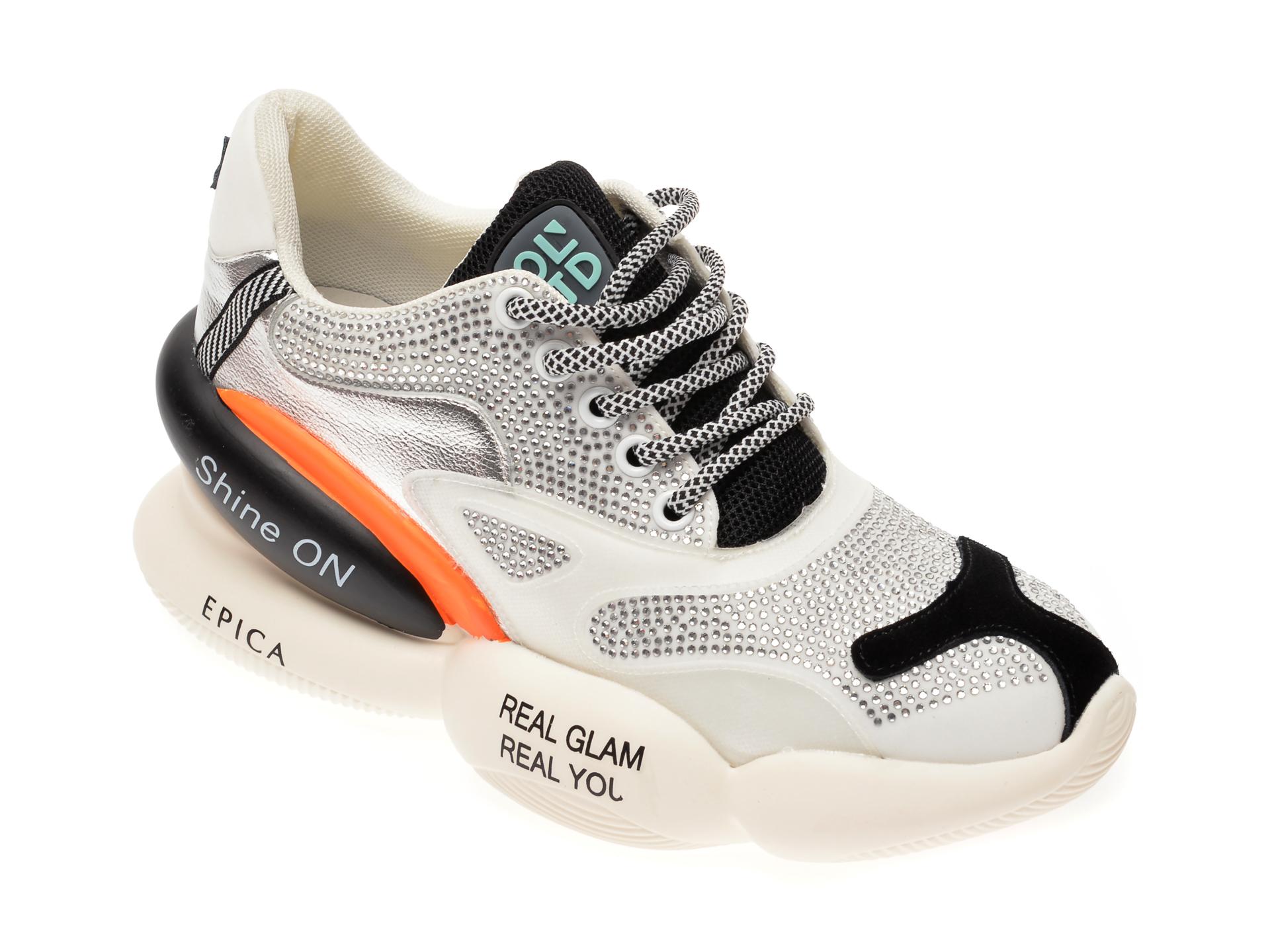 Pantofi sport EPICA albi, QN1, din material textil si piele naturala