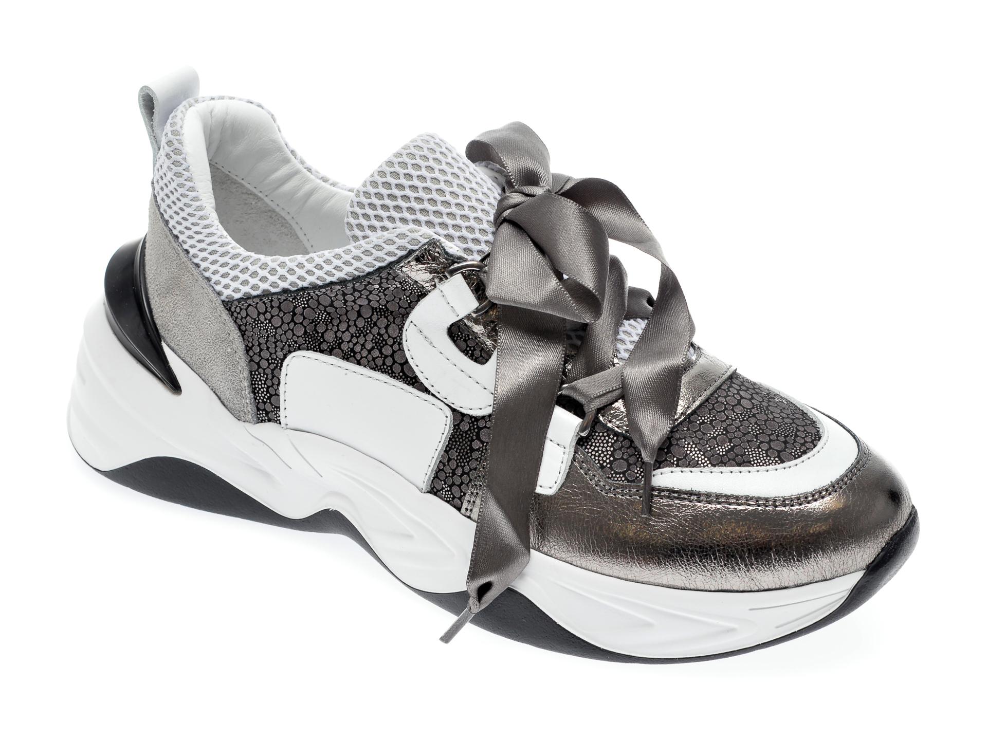 Pantofi sport EPICA argintii, 135P185, din piele naturala si material textil