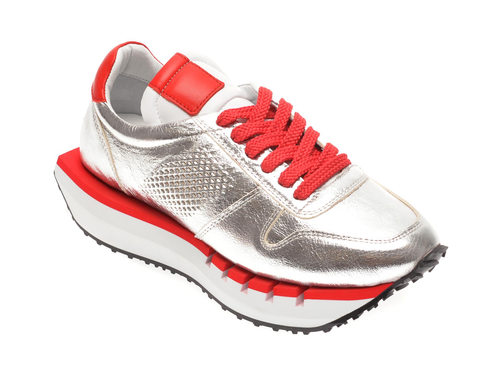 Pantofi sport EPICA argintii, 296KYGO, din piele naturala