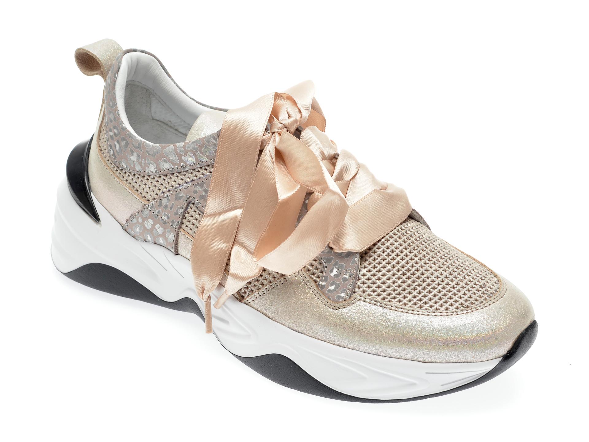 Pantofi sport EPICA bej, 135P200, din piele naturala imagine otter.ro