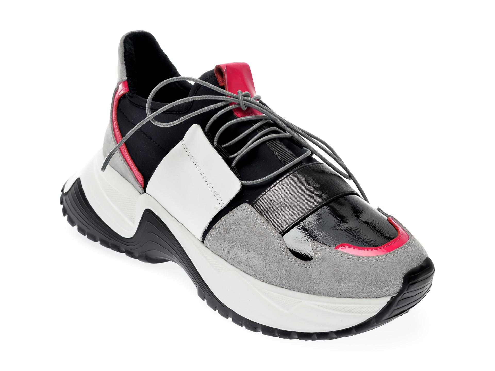 Pantofi sport EPICA gri, 135P165, din material textil si piele naturala imagine otter.ro