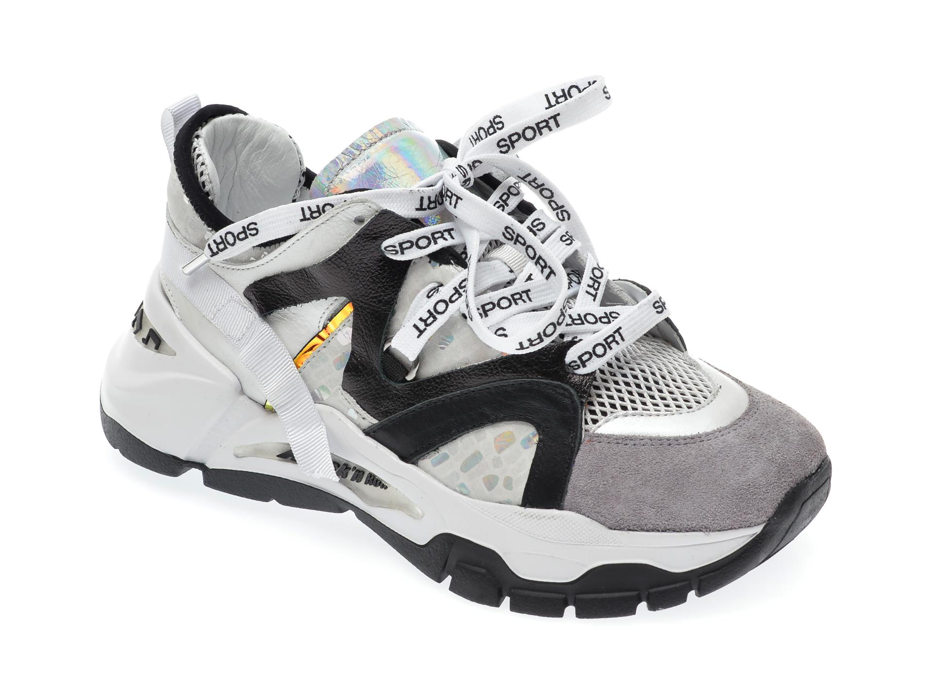 Pantofi sport EPICA gri, 135P173, din piele naturala si material textil New
