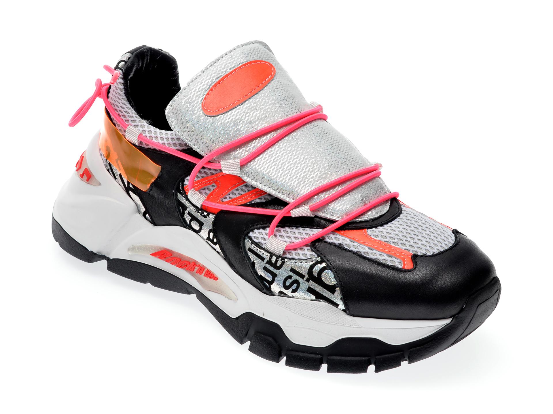 Pantofi sport EPICA negri, 135P218, din piele naturala si material textil
