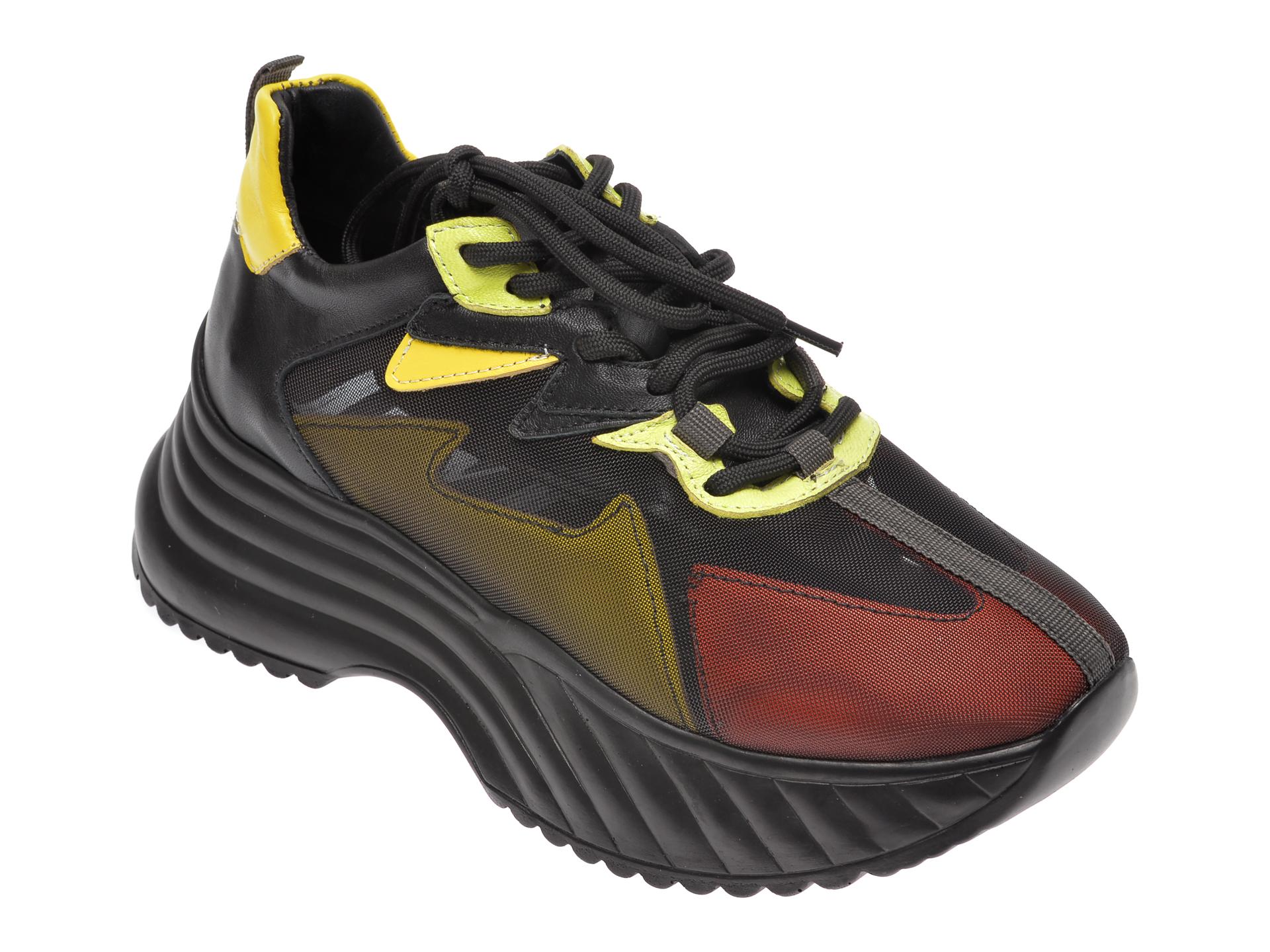 Pantofi sport EPICA negri, 304 NAVI, din material textil si piele naturala