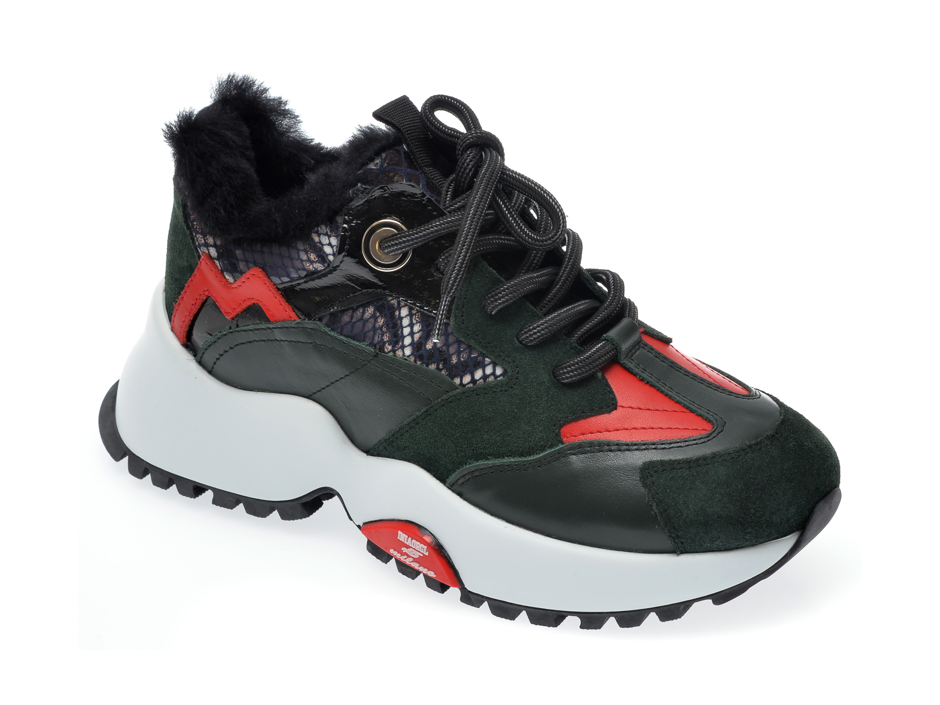 Pantofi sport EPICA verzi, 135P154, din piele naturala imagine otter.ro