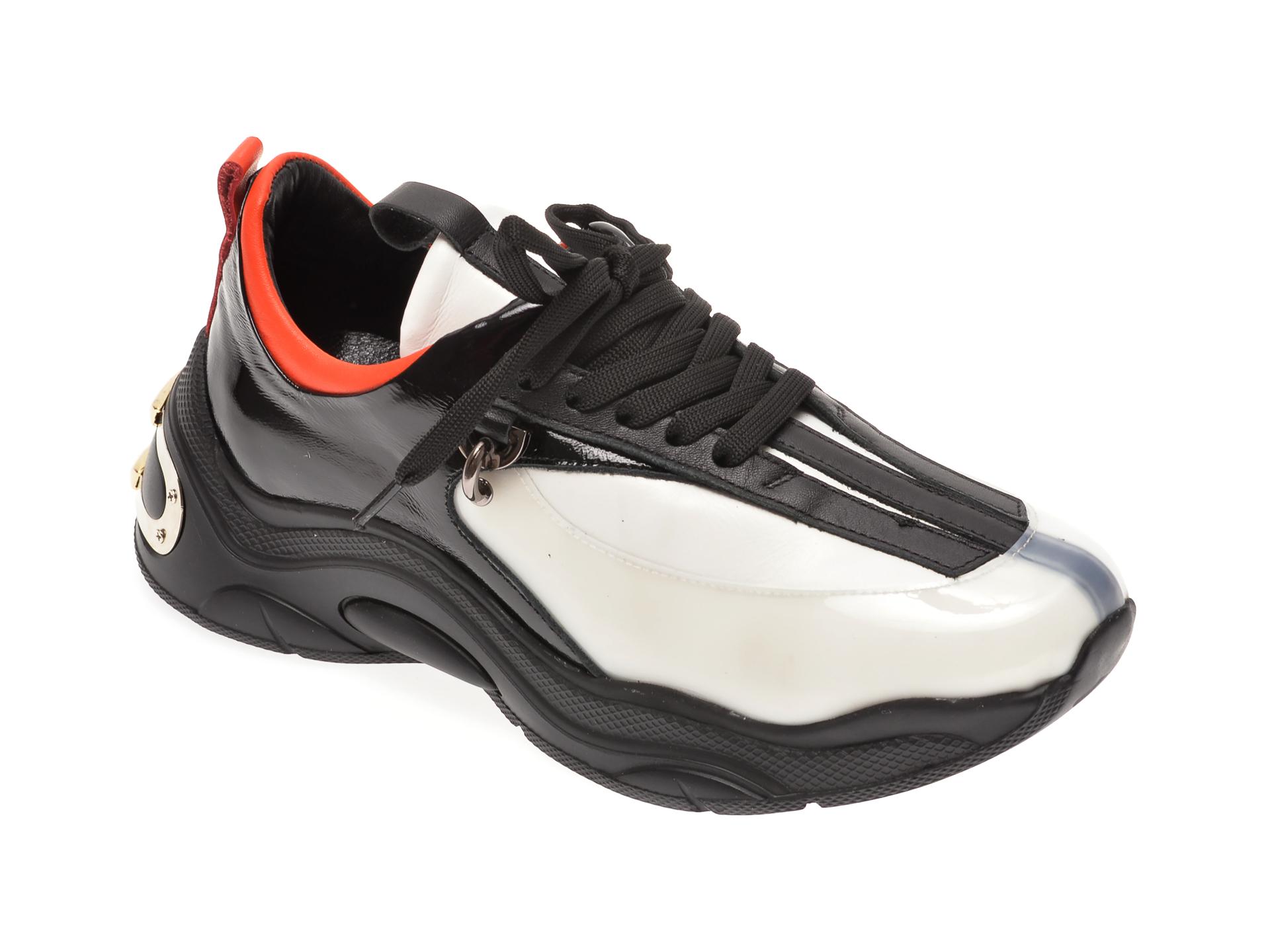 Pantofi sport FLAVIA PASSINI alb negri, 135P45, din piele naturala