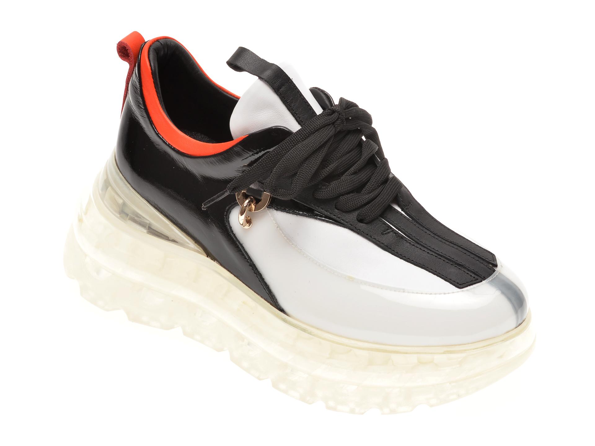 Pantofi sport FLAVIA PASSINI alb negri, 135P46, din piele naturala imagine