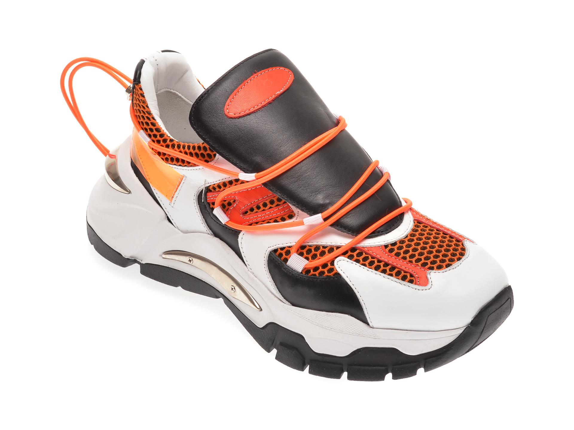 Pantofi sport FLAVIA PASSINI albi, 135P02, din material textil si piele naturala