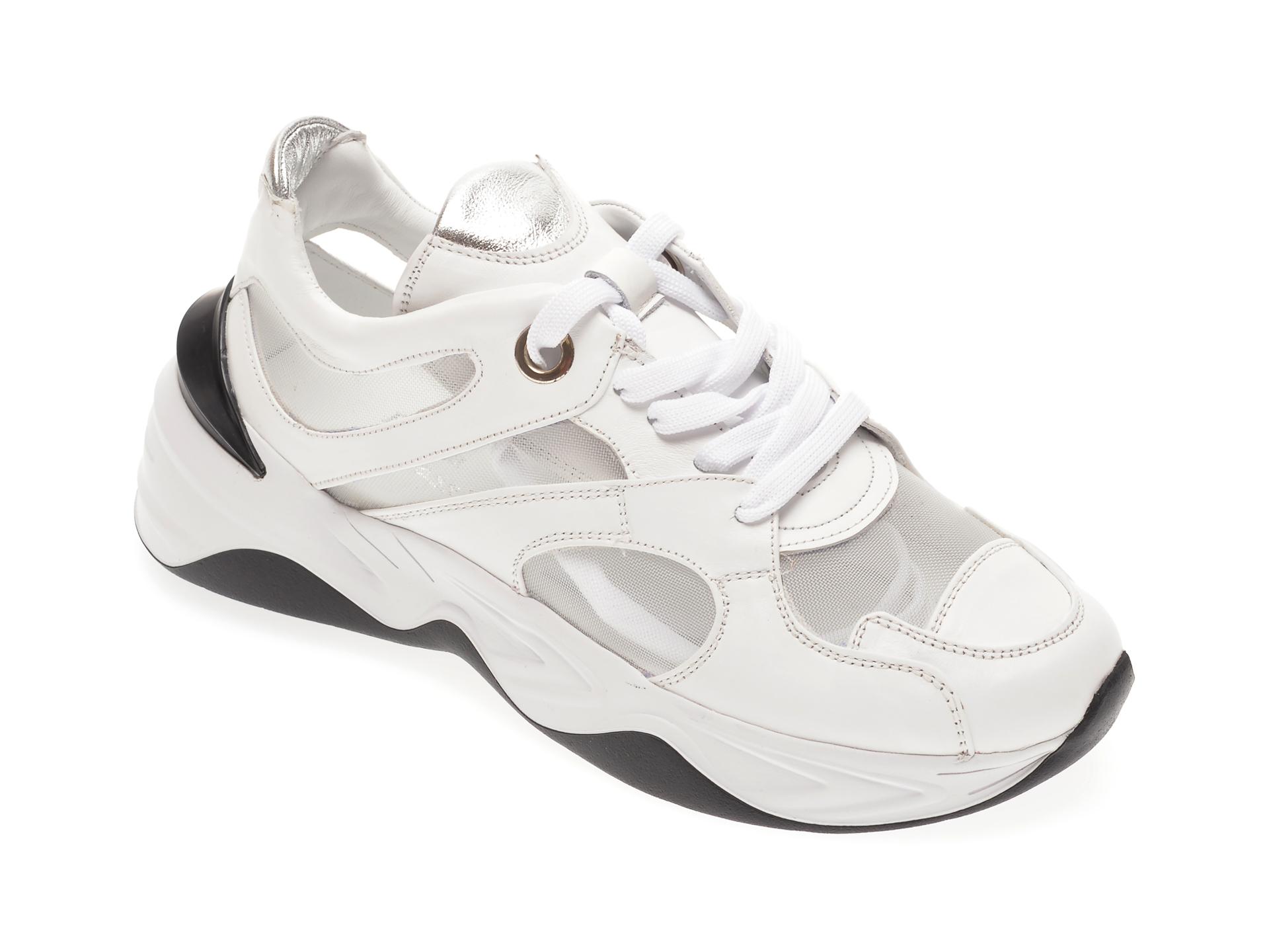 Pantofi sport FLAVIA PASSINI albi, 135P31, din material textil si piele naturala imagine