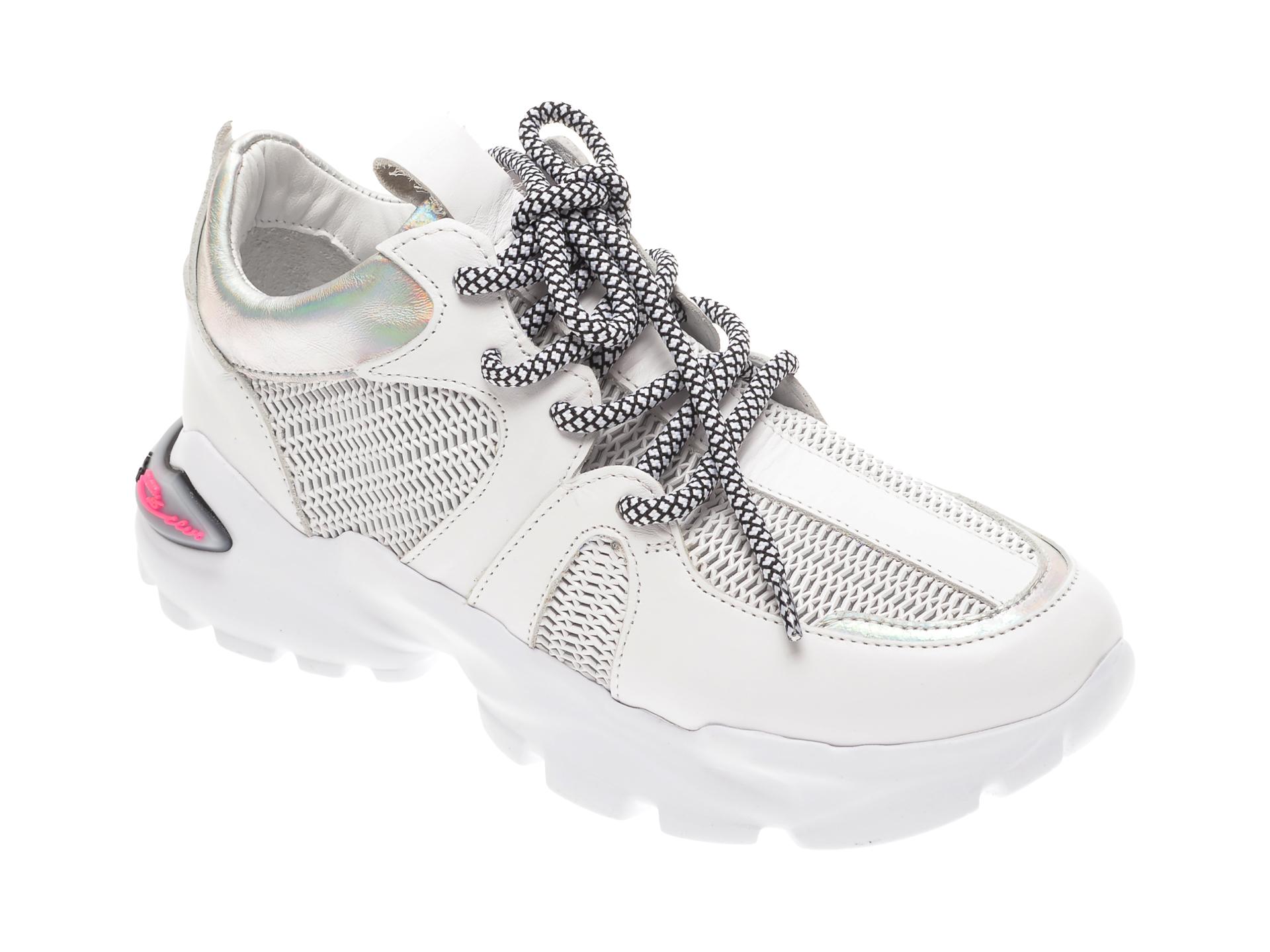 Pantofi sport FLAVIA PASSINI albi, 135P33, din material textil si piele naturala imagine