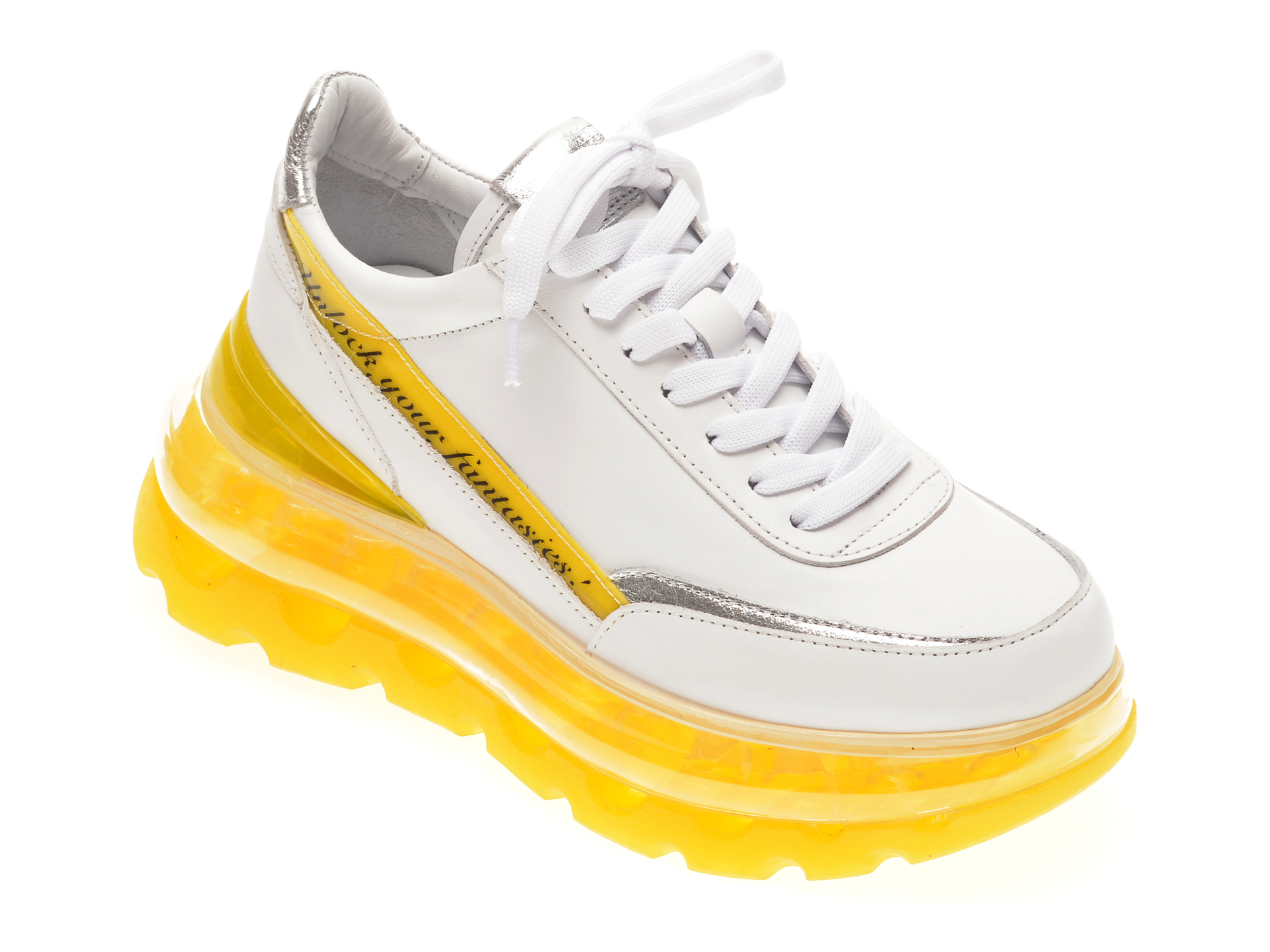 Pantofi sport FLAVIA PASSINI albi, 135P35, din piele naturala New