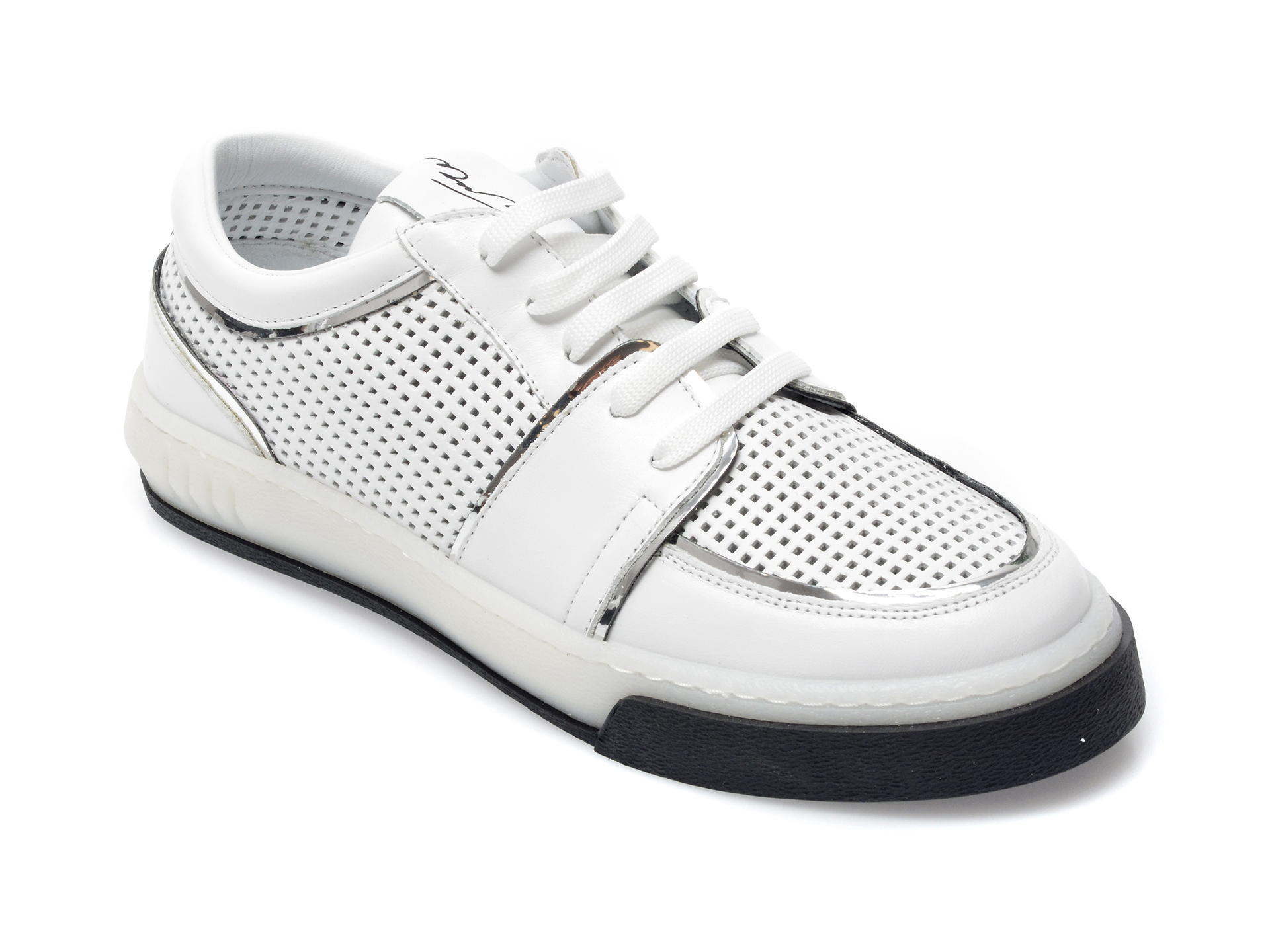 Pantofi Sport Flavia Passini Albi, 44168, Din Piele Naturala