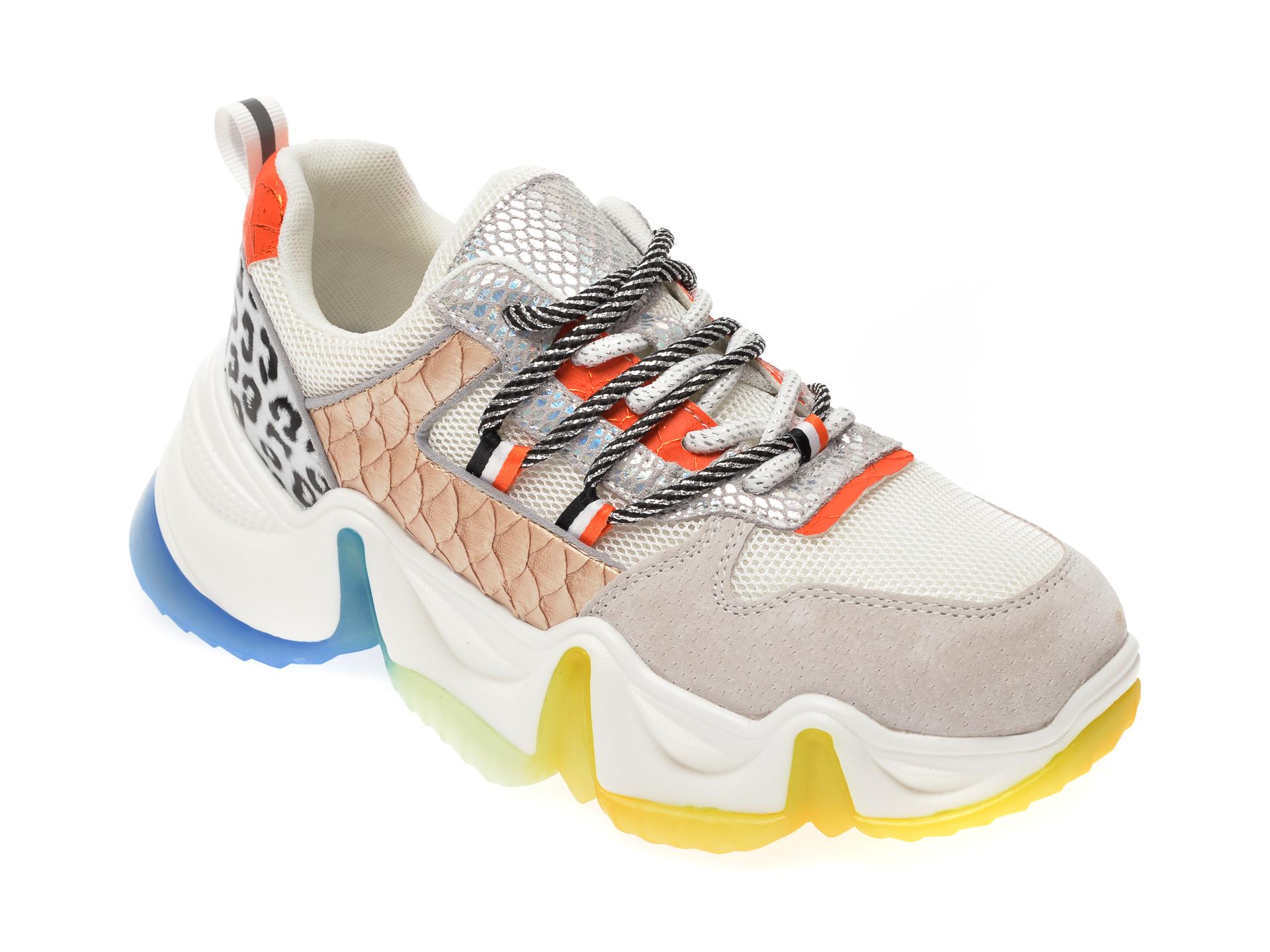 Pantofi sport FLAVIA PASSINI albi, 802, din material textil si piele naturala