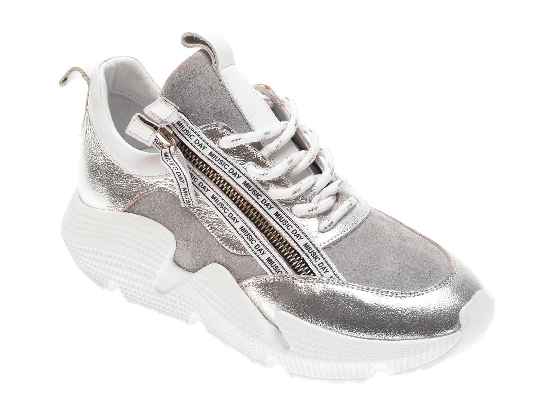 Pantofi sport FLAVIA PASSINI argintii, 135P14, din piele naturala