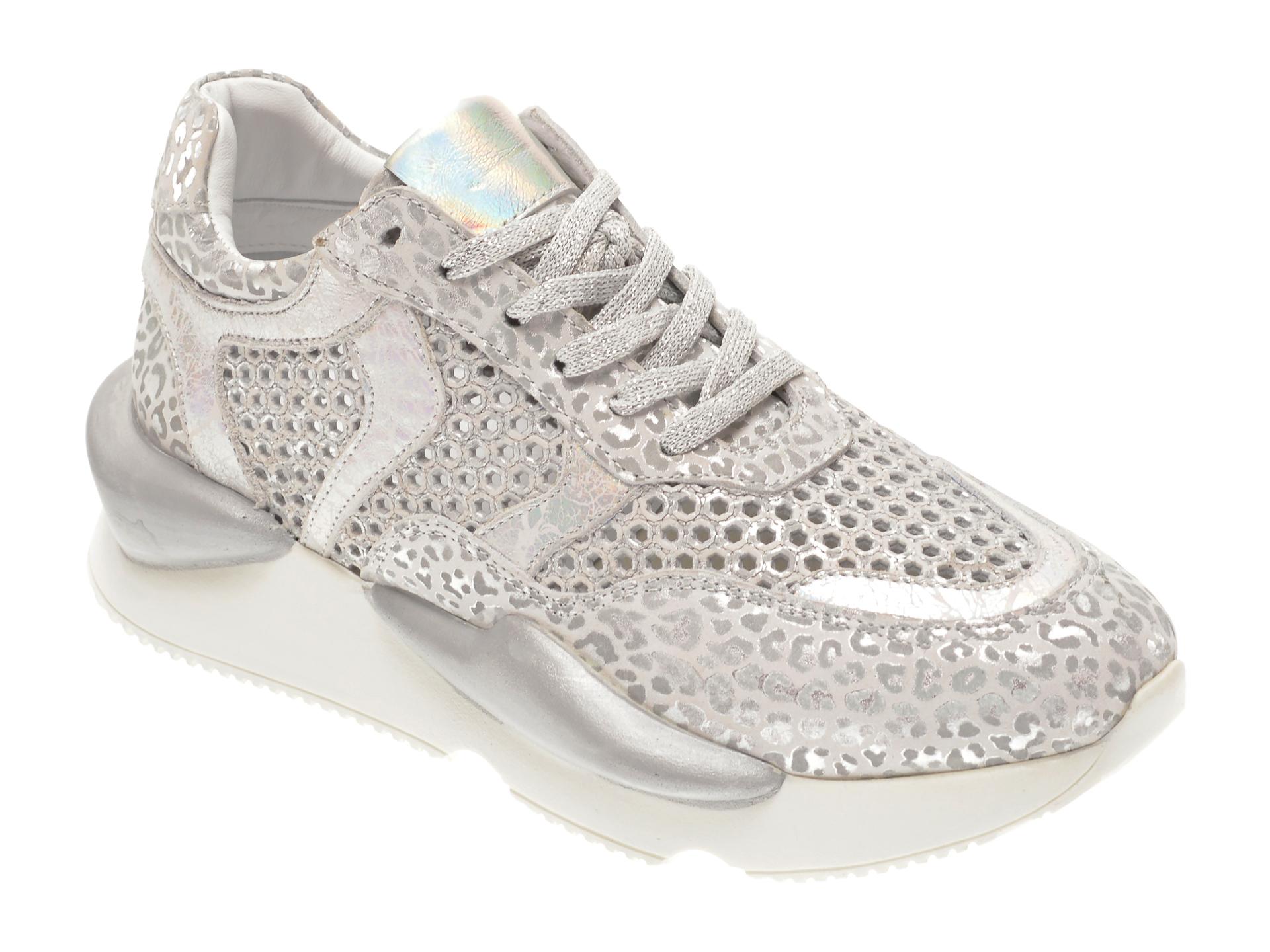Pantofi sport FLAVIA PASSINI argintii, 135P60, din piele naturala imagine