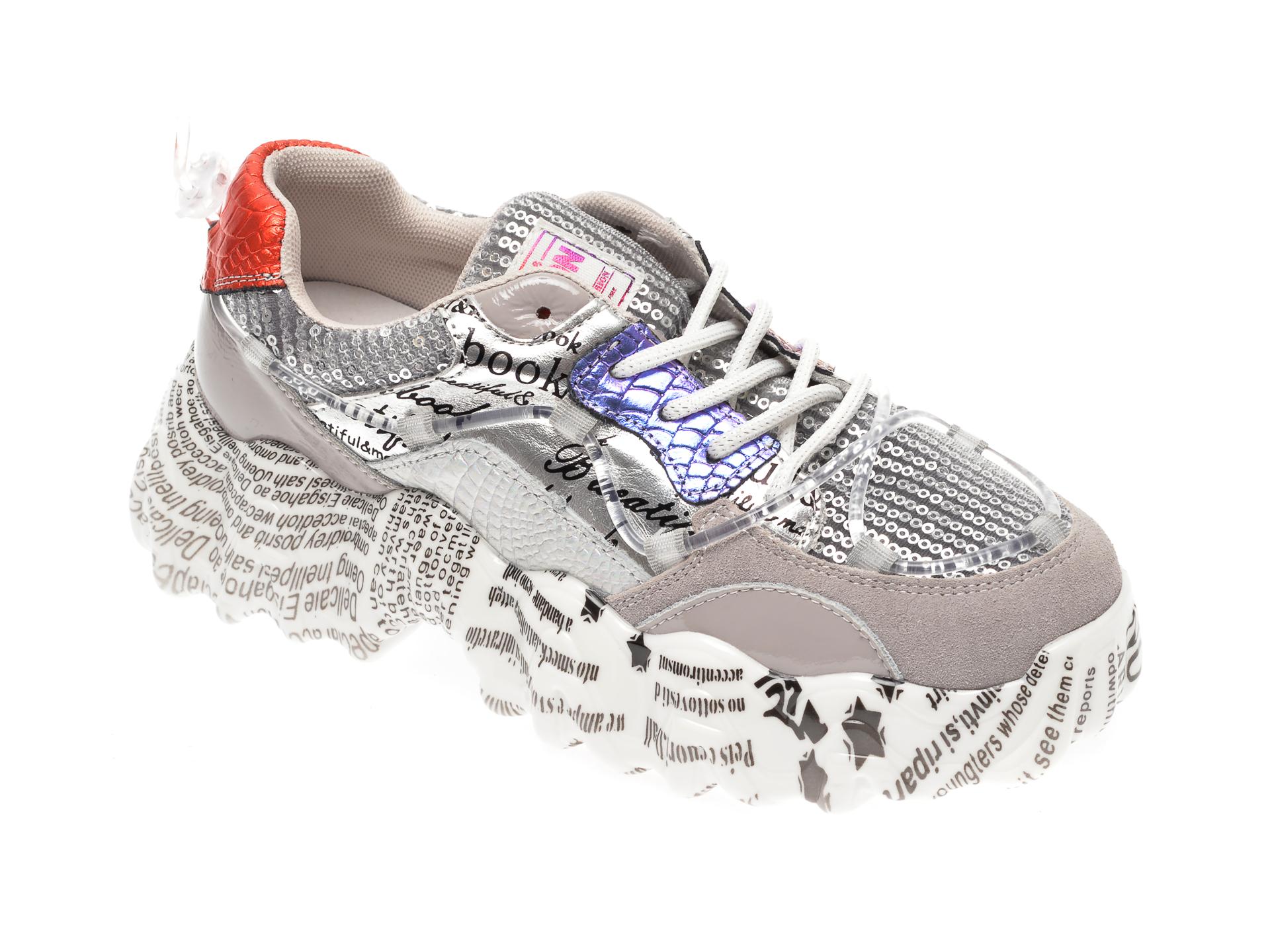 Pantofi sport FLAVIA PASSINI argintii, L1138, din material textil si piele naturala