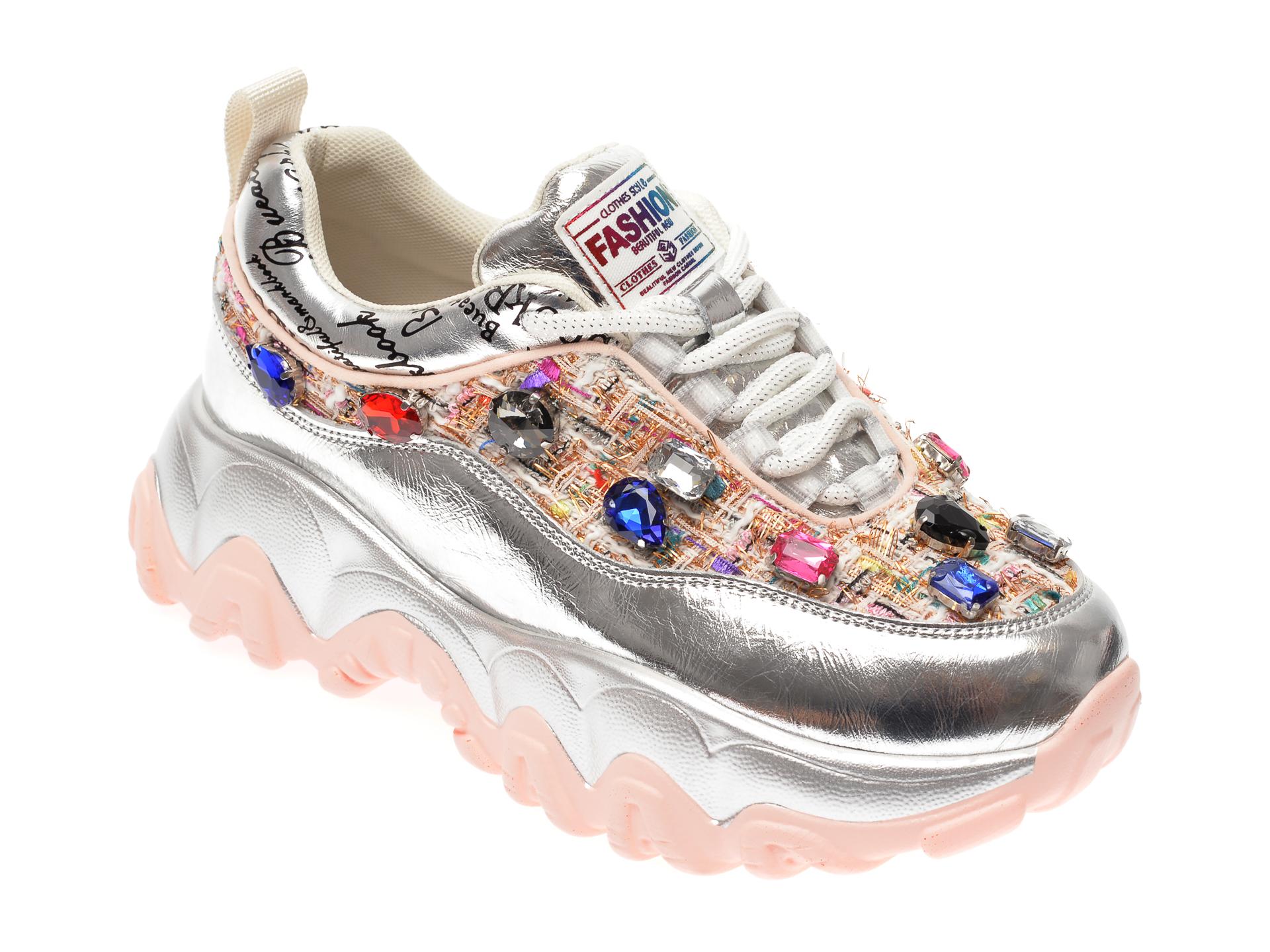 Pantofi sport FLAVIA PASSINI argintii, L160, din material textil si piele naturala