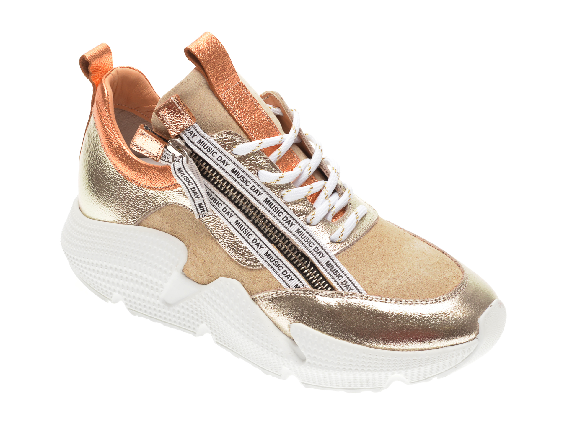 Pantofi sport FLAVIA PASSINI aurii, 135P06, din piele naturala