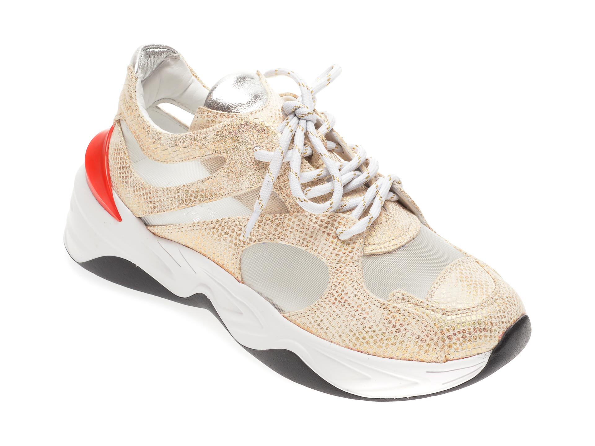 Pantofi Sport Flavia Passini Aurii, 135p17, Din Material Textil Si Piele Naturala