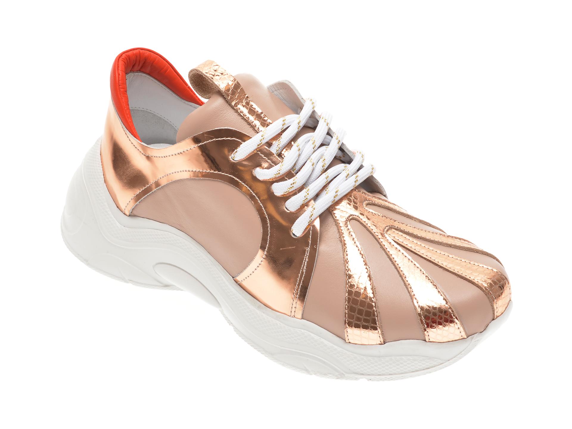 Pantofi sport FLAVIA PASSINI aurii, 135P22, din piele naturala