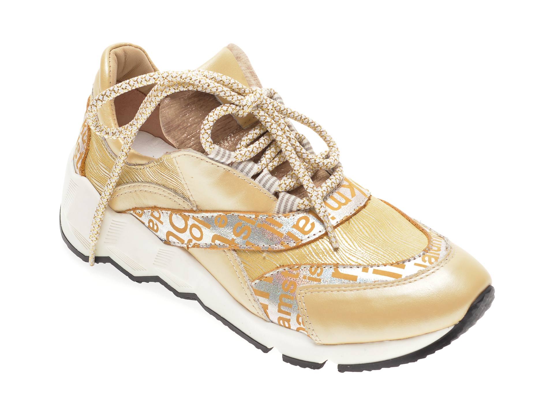 Pantofi sport FLAVIA PASSINI aurii, 135P41, din piele naturala New