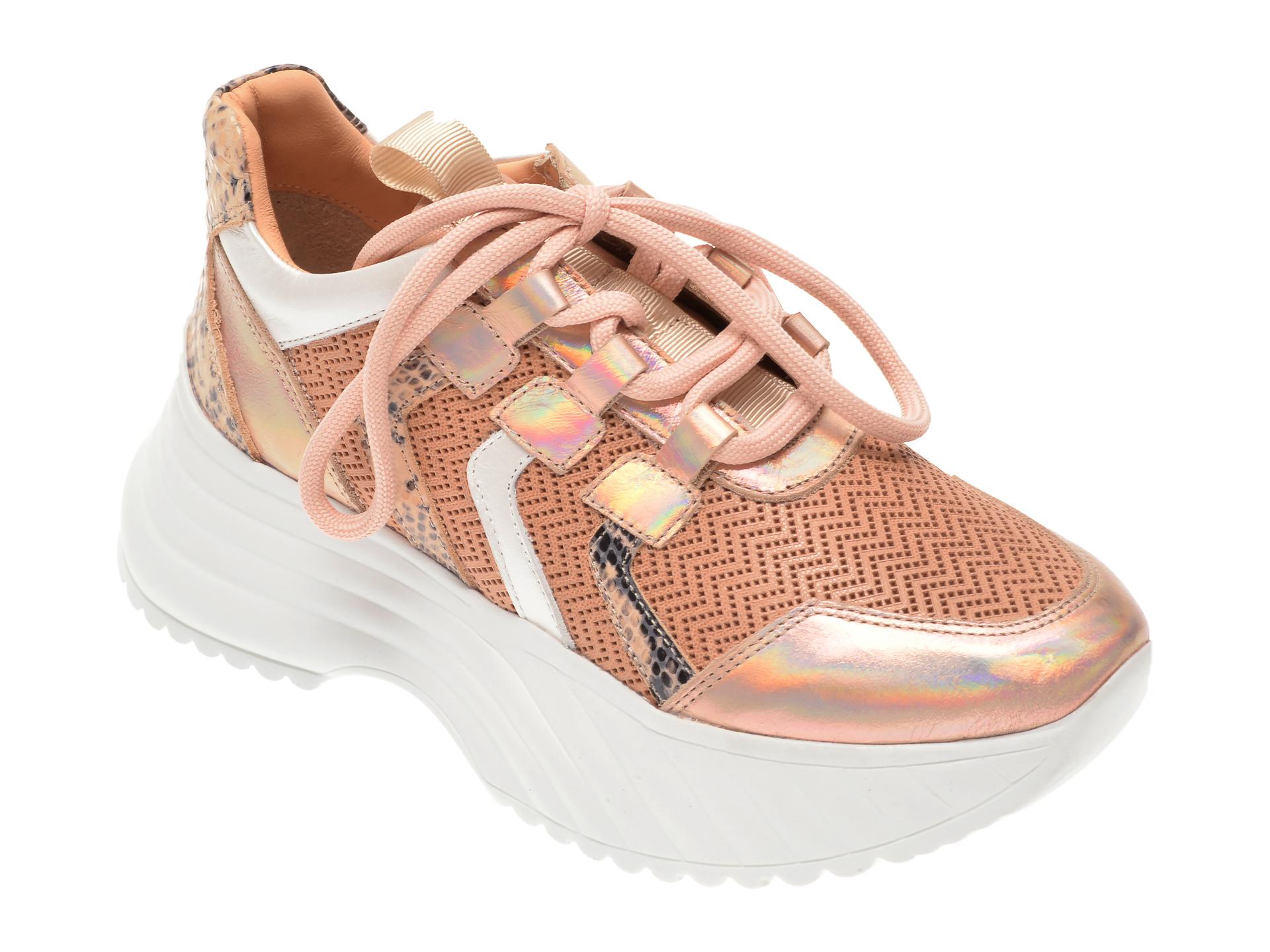 Pantofi sport FLAVIA PASSINI aurii, 135P64, din piele naturala New
