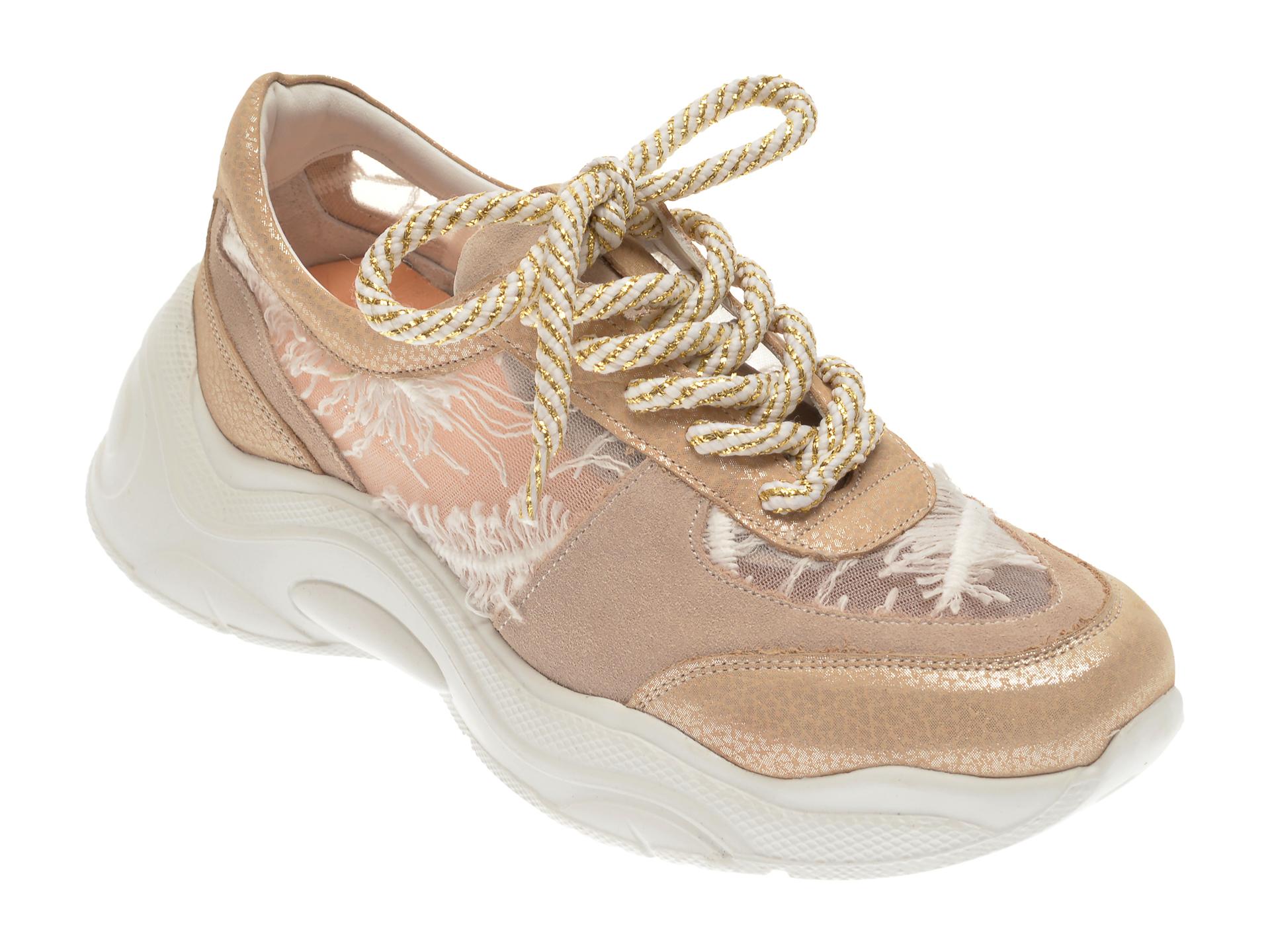 Pantofi sport FLAVIA PASSINI bej, 135P81, din material textil si piele naturala