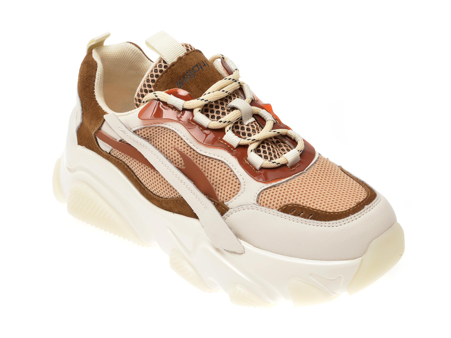 Pantofi sport FLAVIA PASSINI bej, 8051, din material textil si piele naturala
