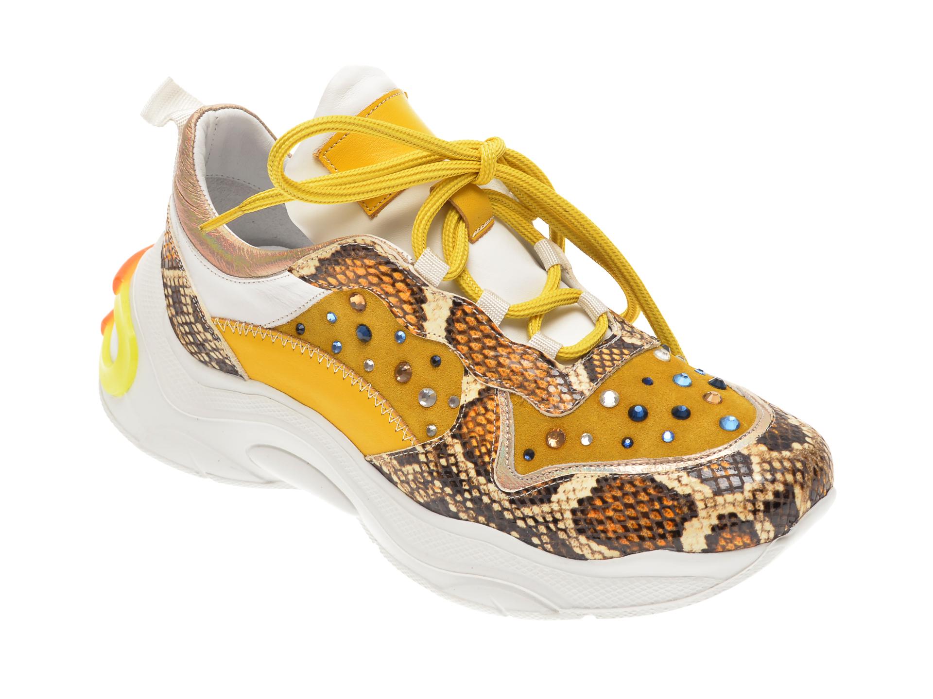 Pantofi sport FLAVIA PASSINI galbeni, 135P15, din piele naturala imagine