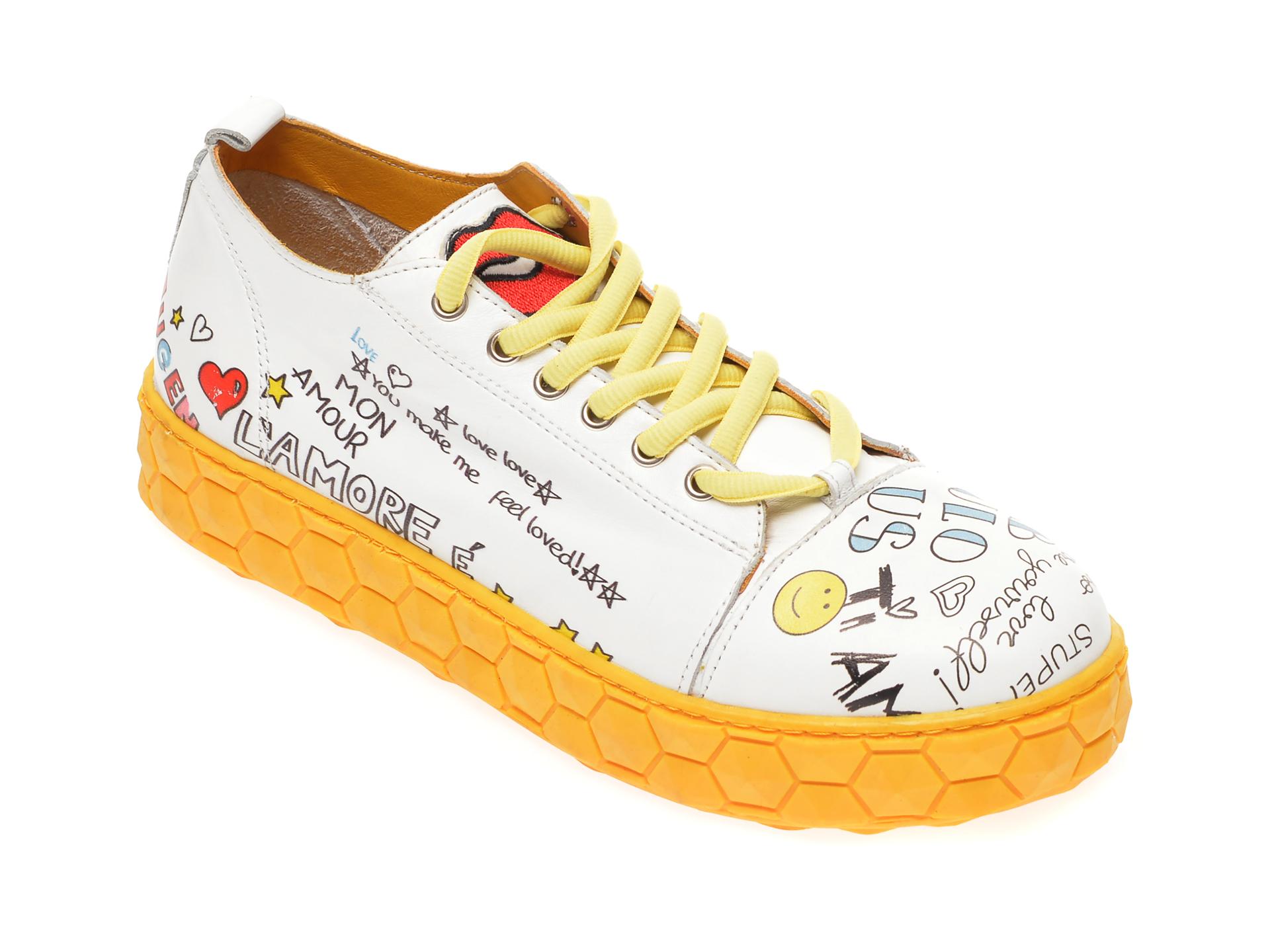 Pantofi sport FLAVIA PASSINI galbeni, 3621108, din piele naturala
