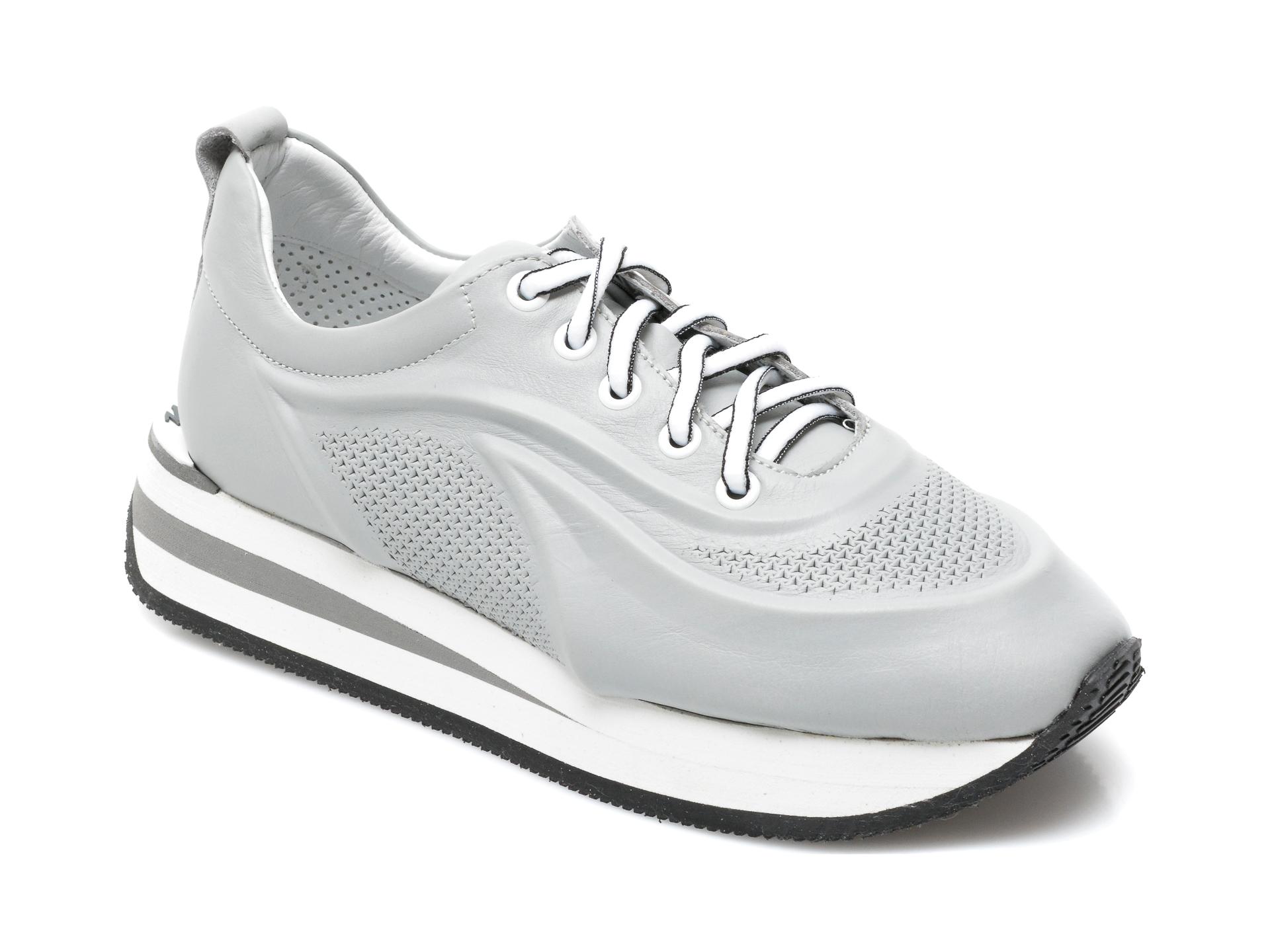 Pantofi sport FLAVIA PASSINI gri, 039S253, din piele naturala imagine otter.ro