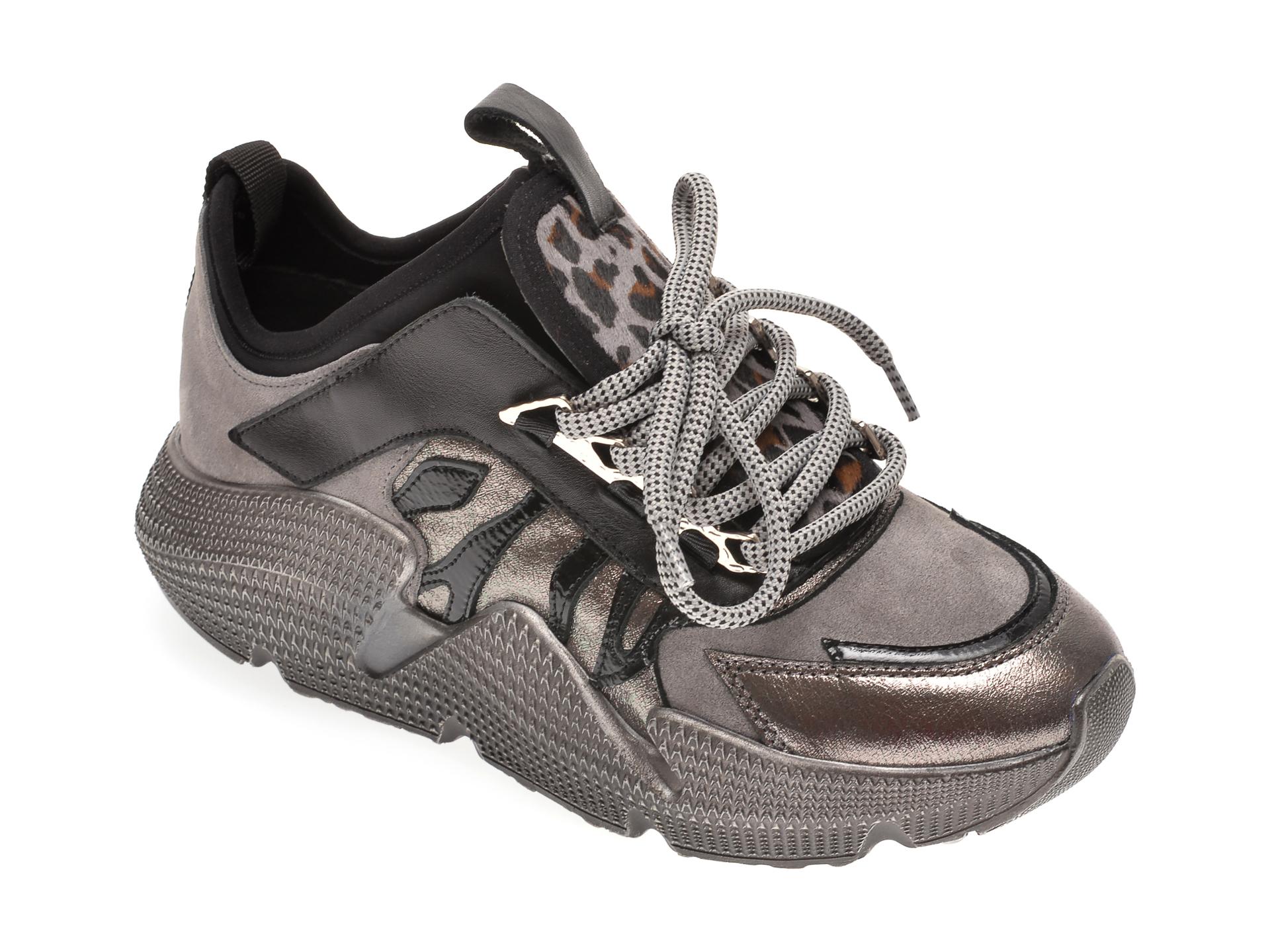 Pantofi sport FLAVIA PASSINI gri, 135P08, din material textil piele naturala