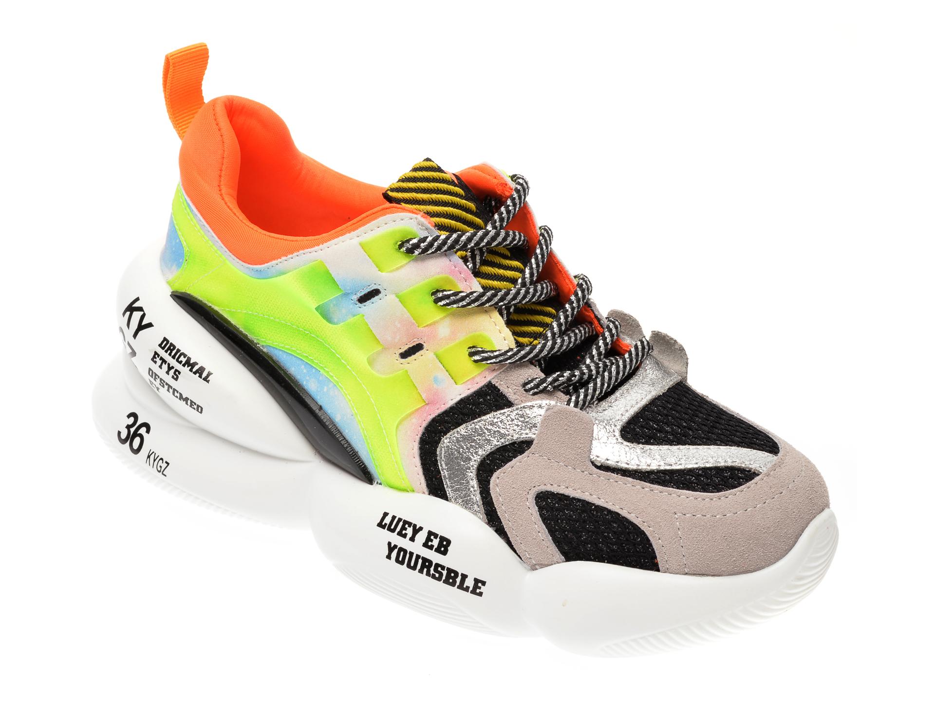 Pantofi sport FLAVIA PASSINI gri, 8083, din material textil si piele naturala New