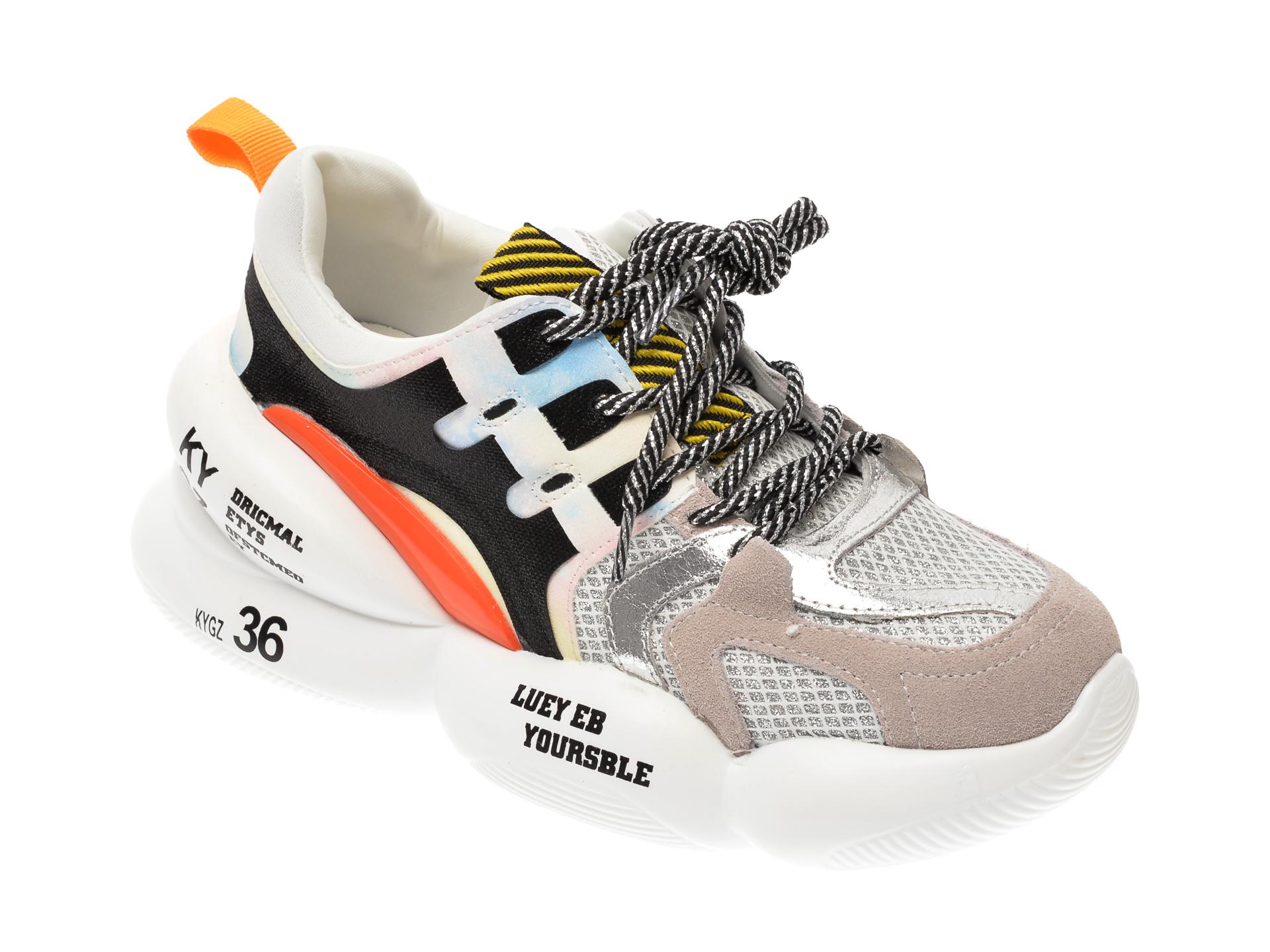 Pantofi sport FLAVIA PASSINI gri, 8083, din material textil si piele naturala