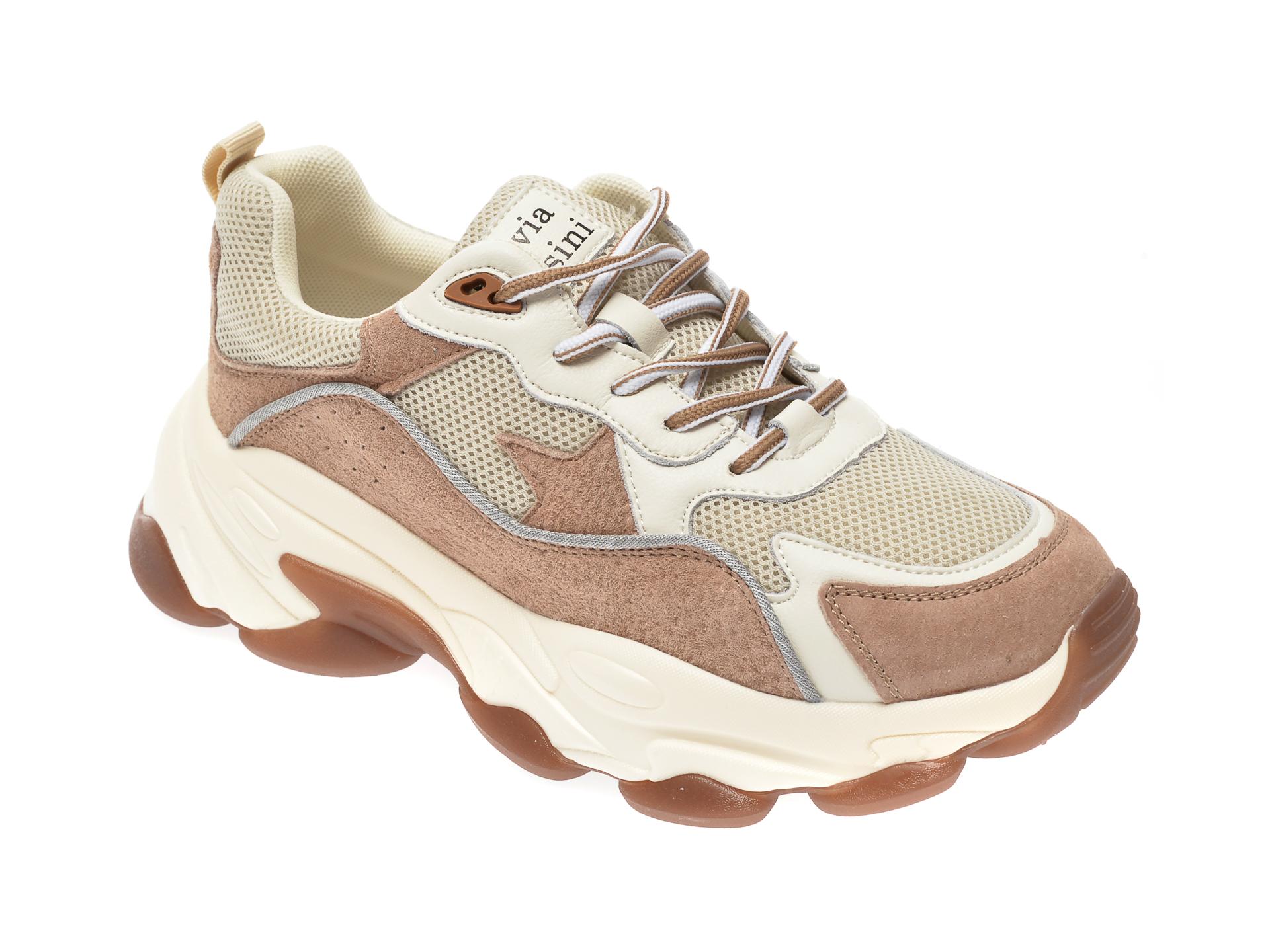Pantofi sport FLAVIA PASSINI maro, YC19837, din material textil si piele naturala imagine