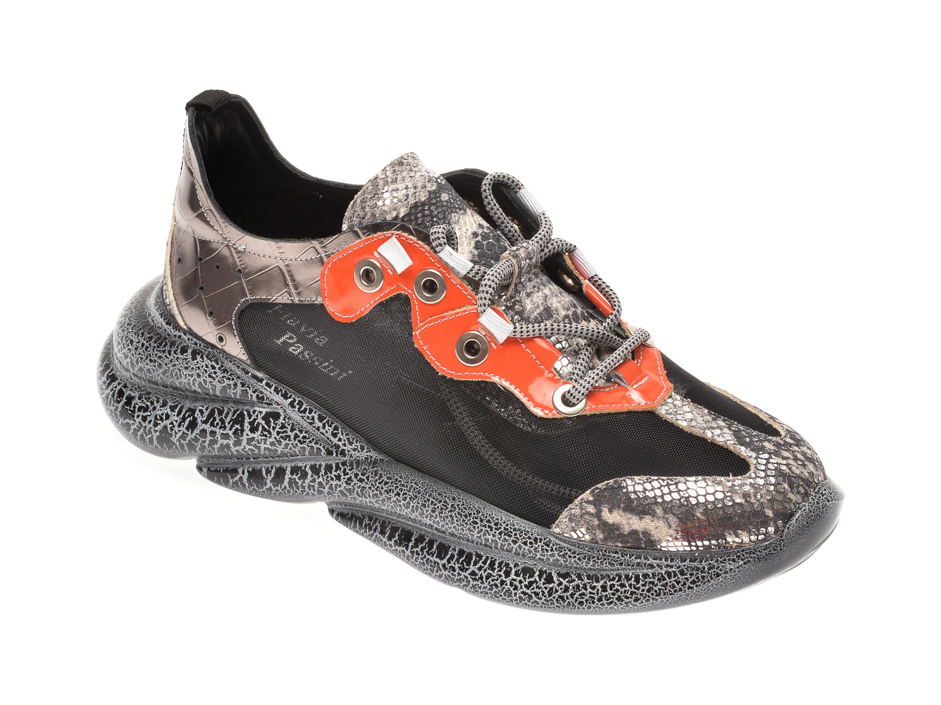 Pantofi sport FLAVIA PASSINI negri, 135P04, din material textil si piele naturala