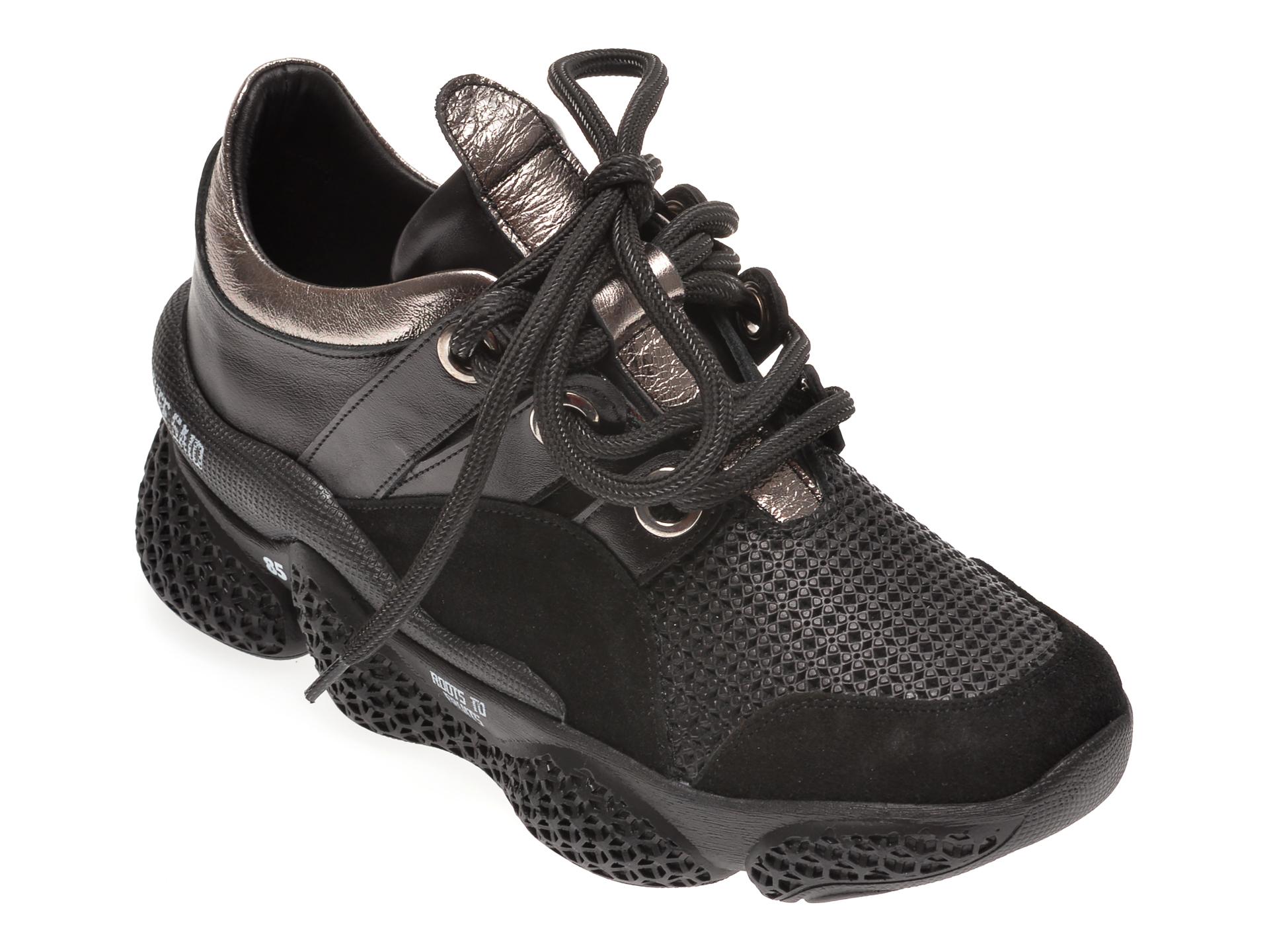 Pantofi sport FLAVIA PASSINI negri, 135P13, din piele naturala