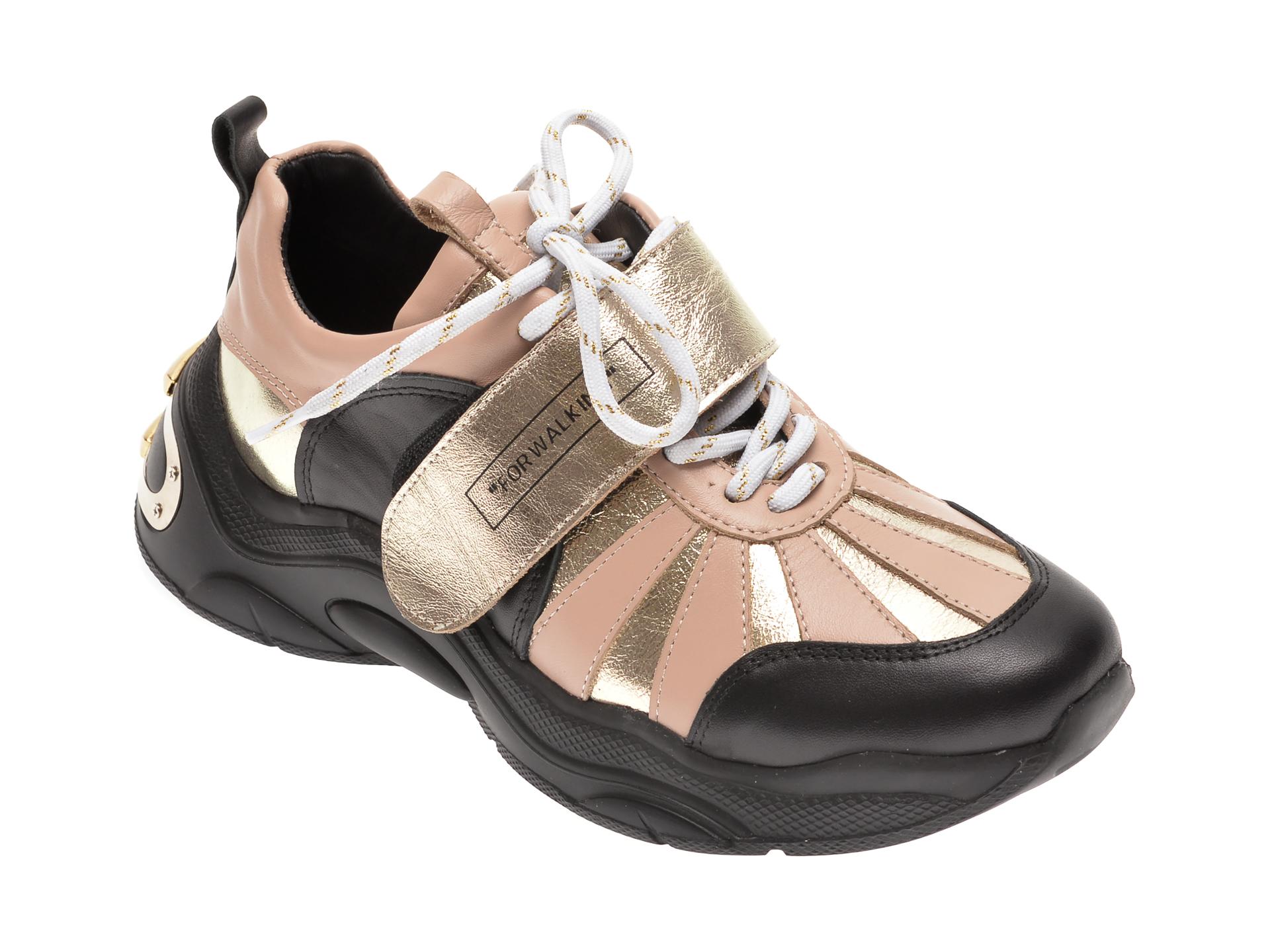 Pantofi sport FLAVIA PASSINI negri, 135P20, din piele naturala imagine